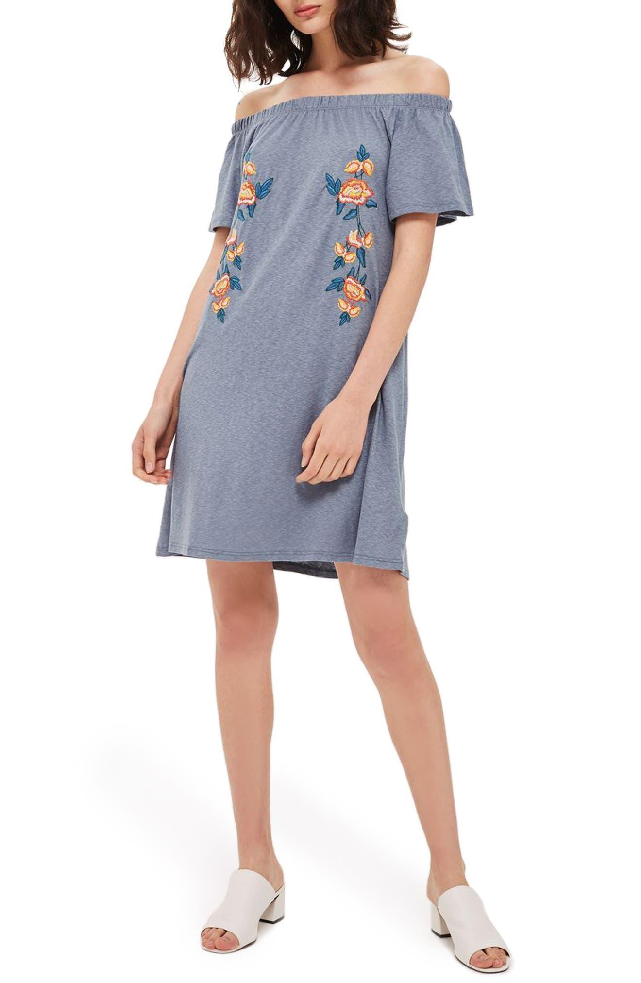 TOPSHOP Embroidered Off the Shoulder Dress