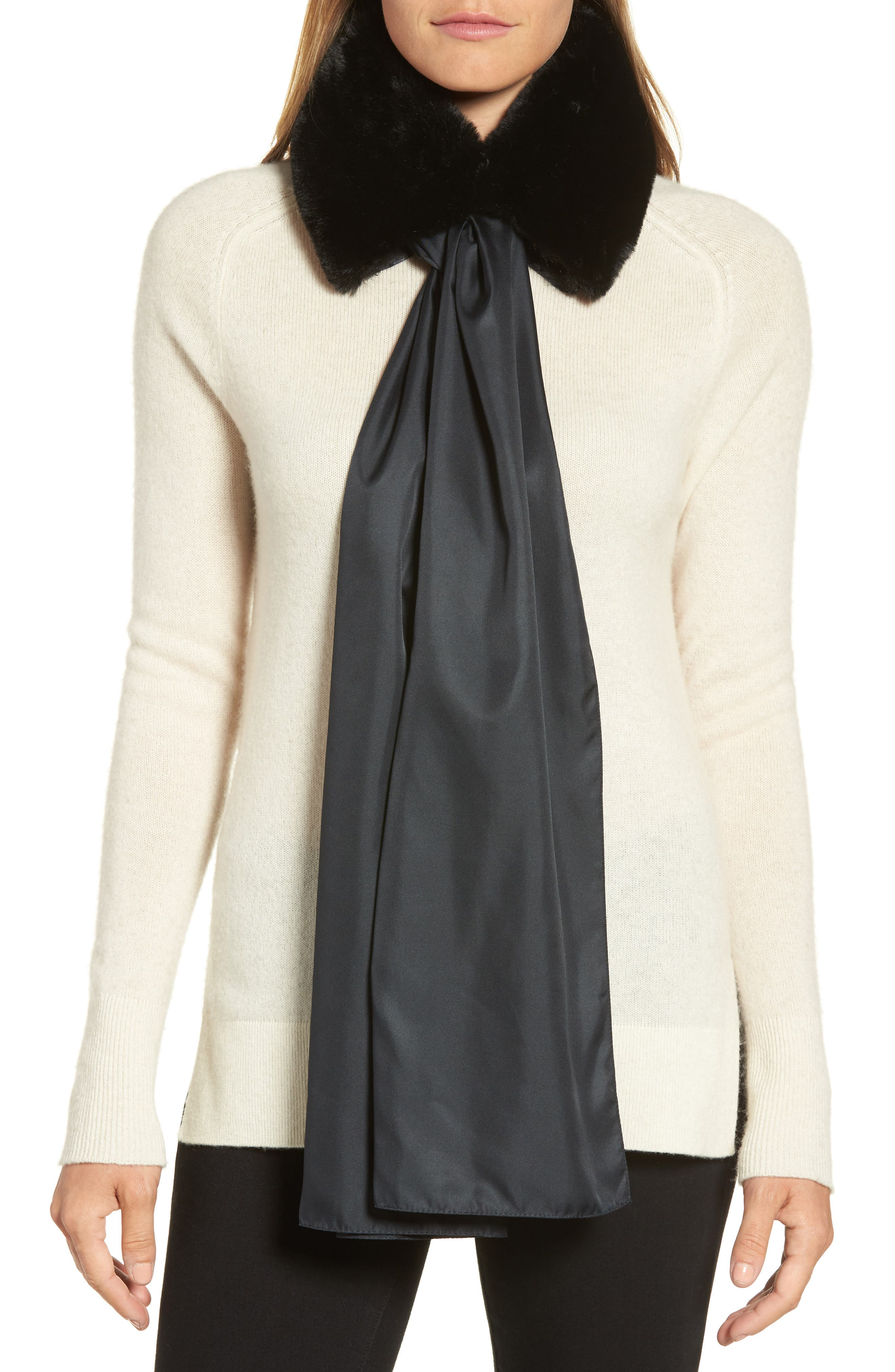 The Anastasia Faux Fur Collar with Removable Scarf,                         Main,                         color, Black