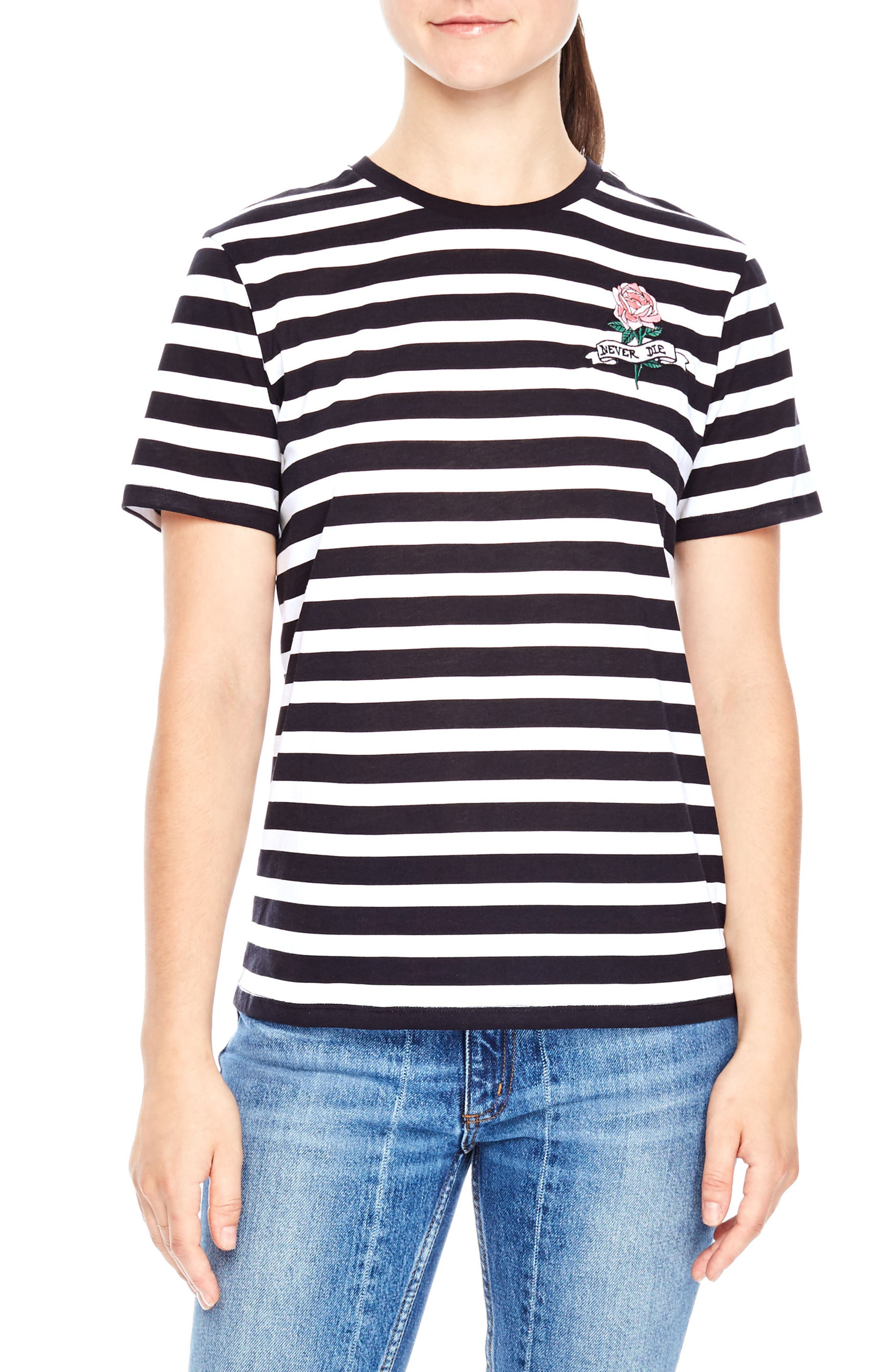 Tattoo Embroidered Stripe Tee,                             Main thumbnail 1, color,                             Navy