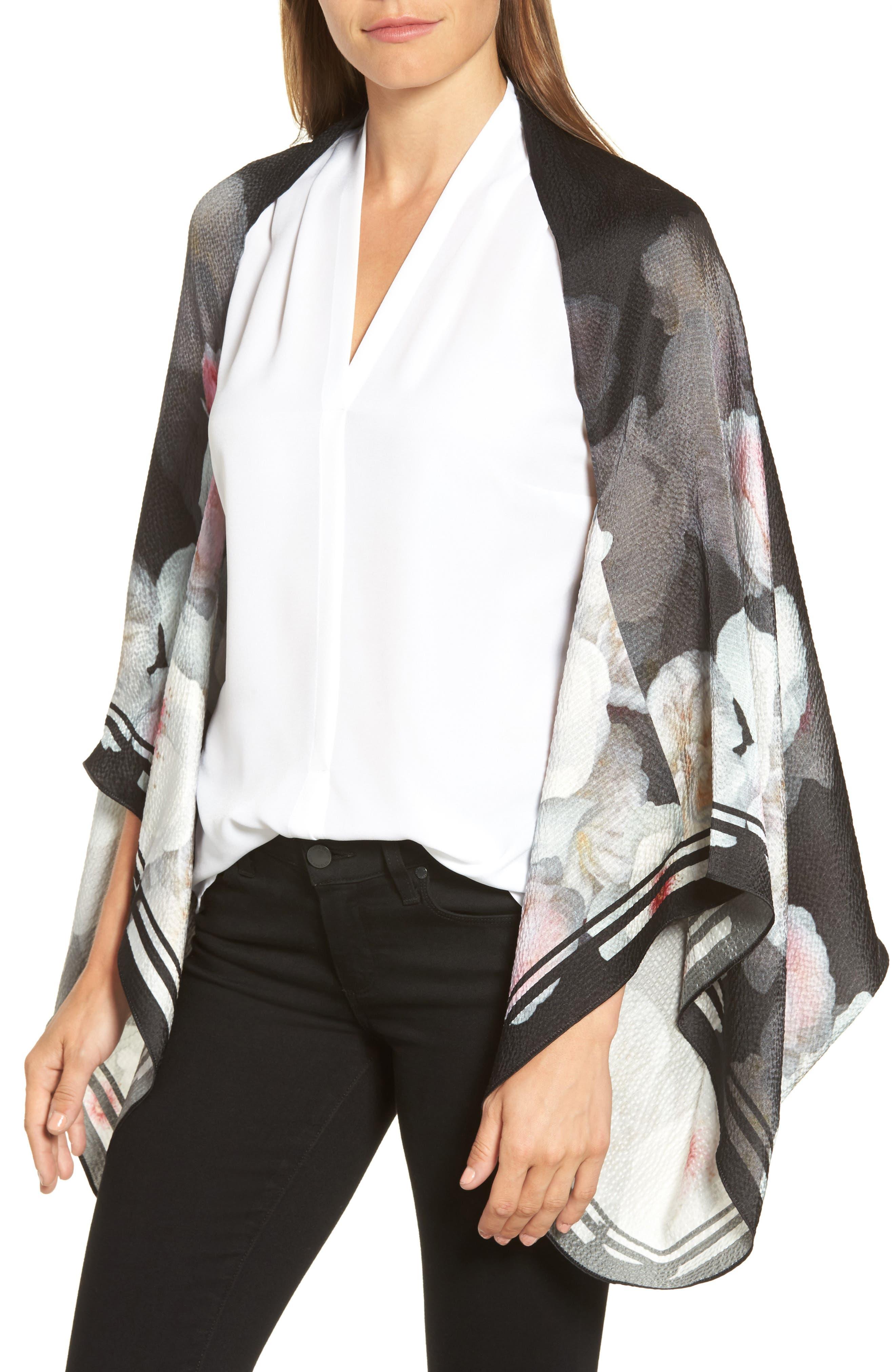 Chelsea Silk Cape Scarf,                         Main,                         color, Black