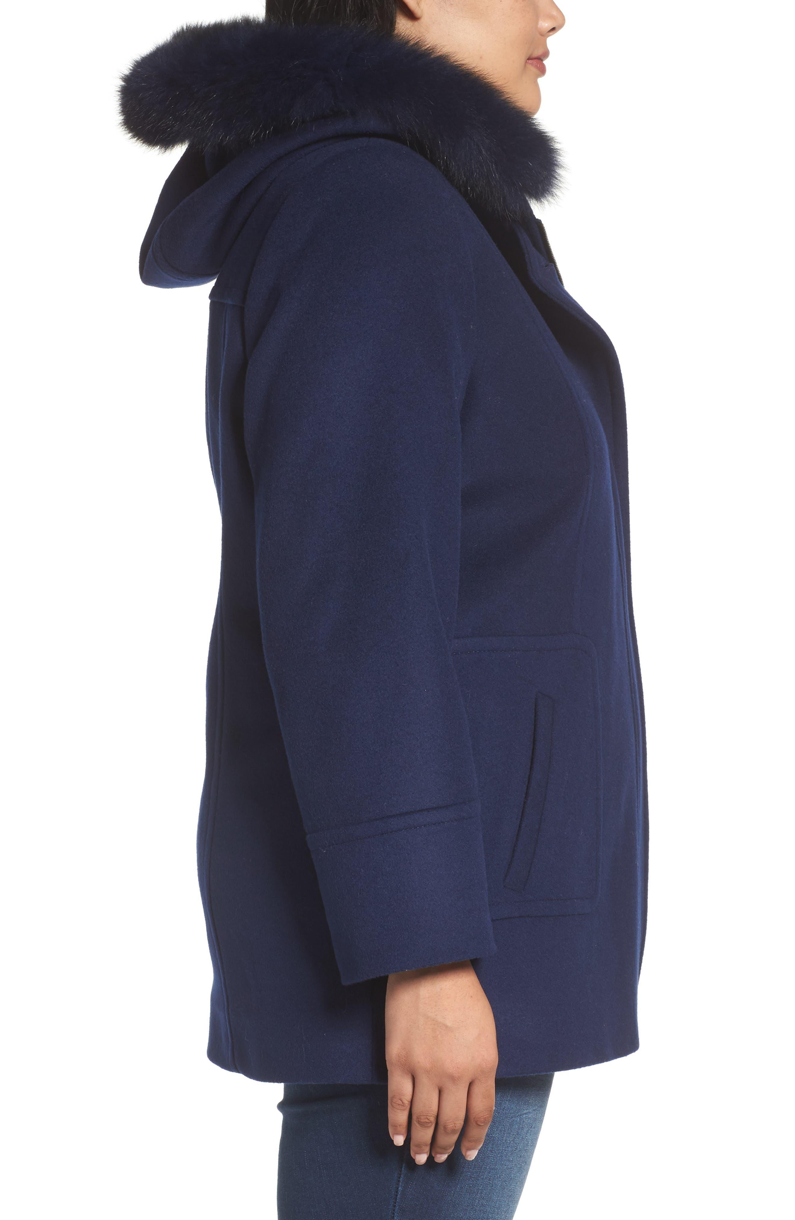Alternate Image 3  - Sachi Hooded Wool Blend Coat with Genuine Fox Fur Trim (Plus Size)