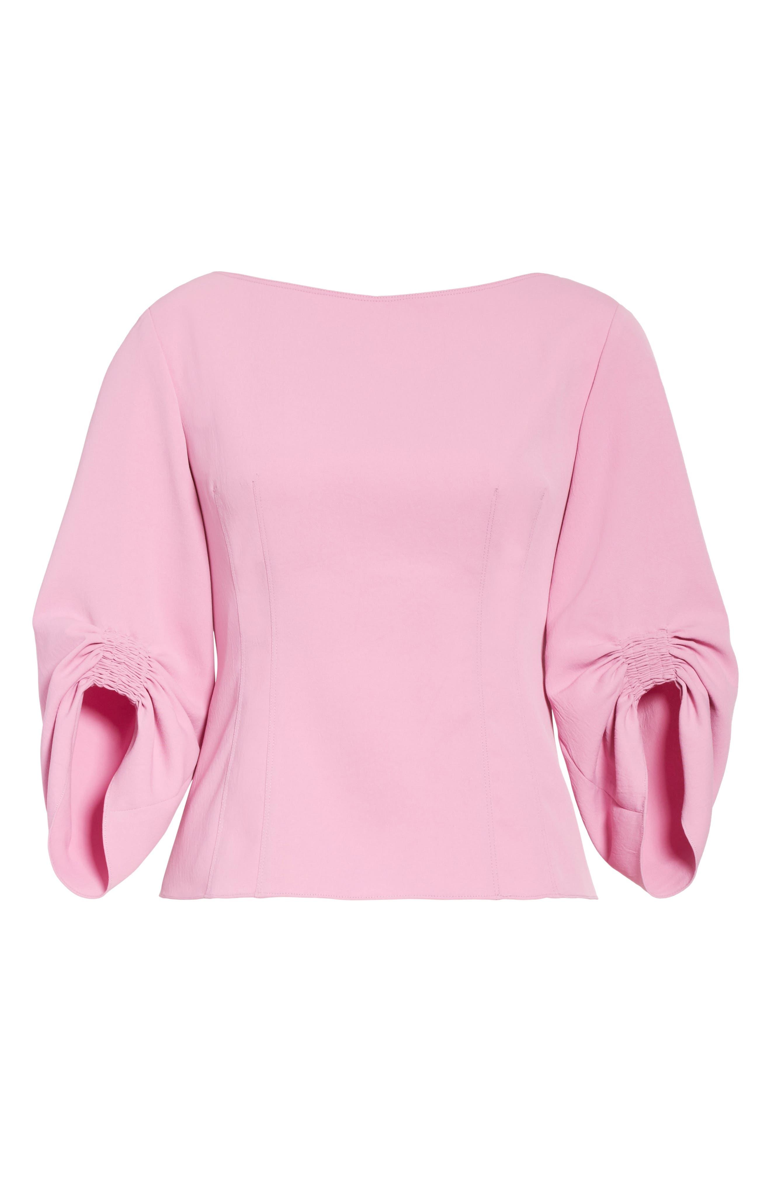 Draped Twill Corset Top,                             Alternate thumbnail 6, color,                             Pink