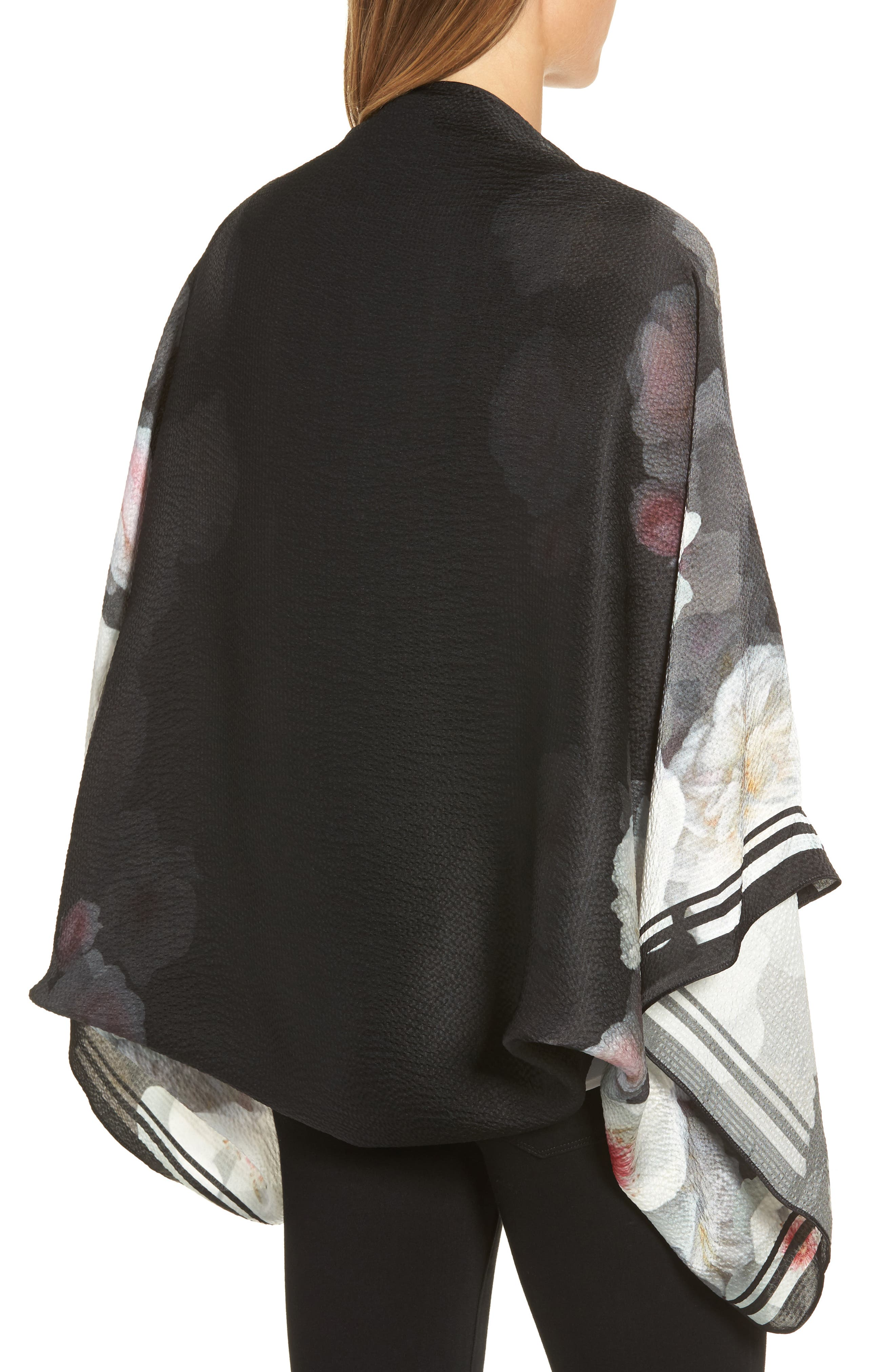 Chelsea Silk Cape Scarf,                             Alternate thumbnail 2, color,                             Black