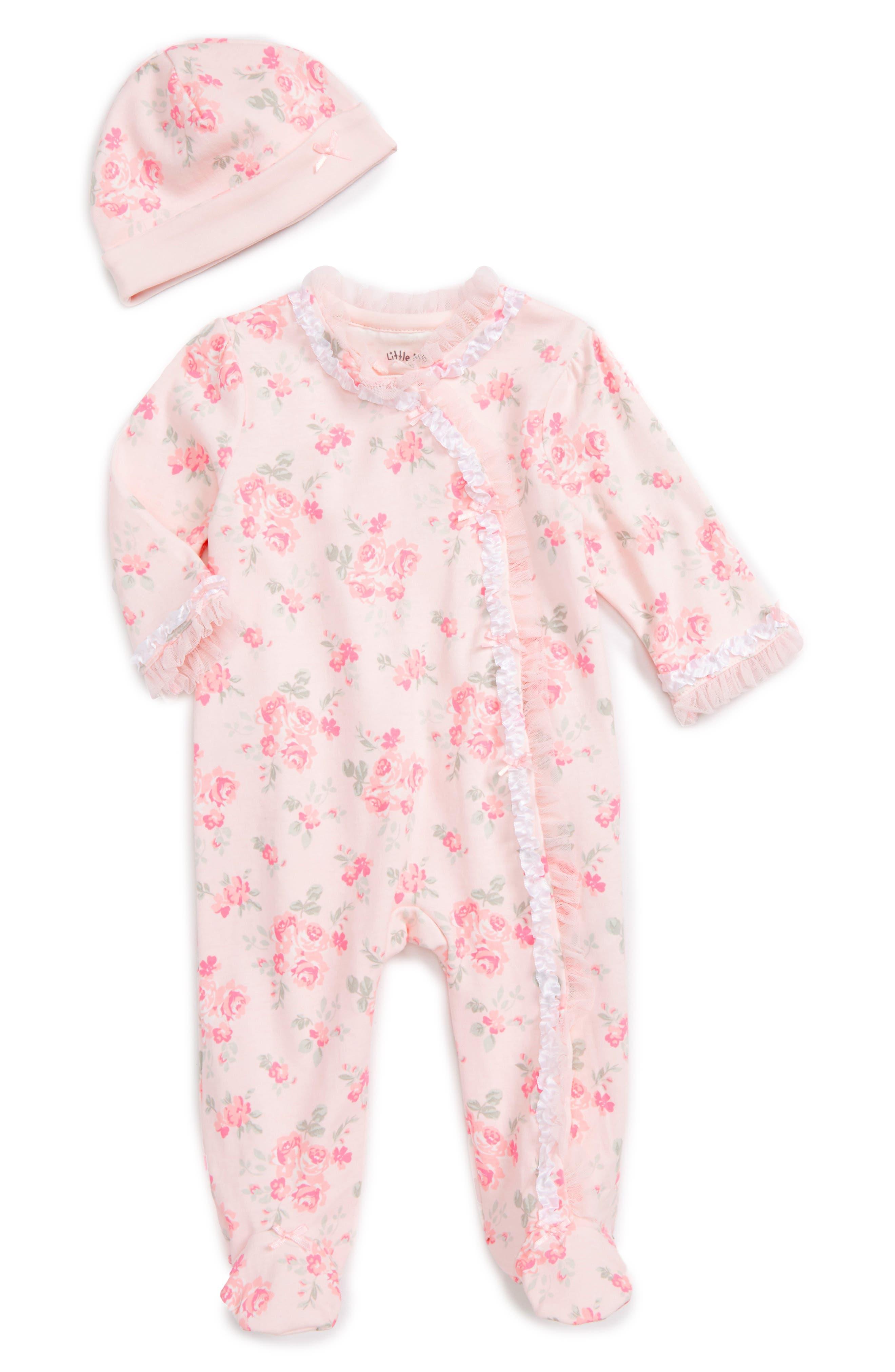 Footie & Beanie Set,                             Main thumbnail 1, color,                             Pink Floral