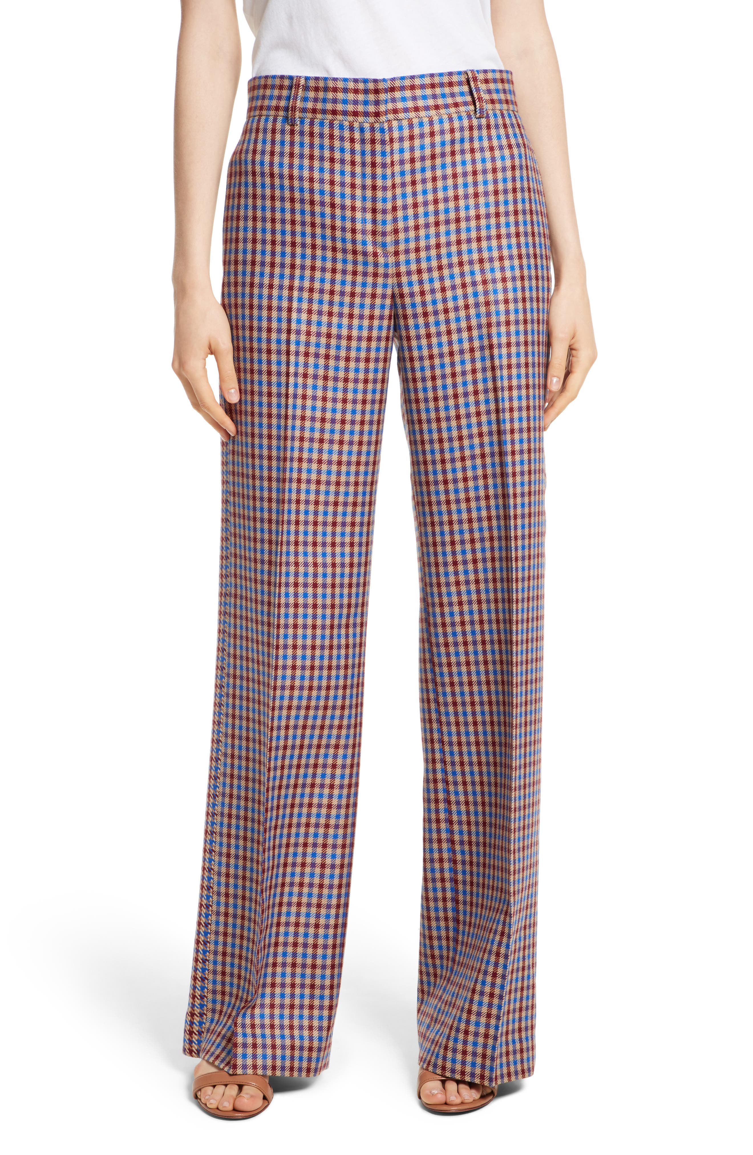 Tory Burch Ainsley Plaid Wide Leg Trousers