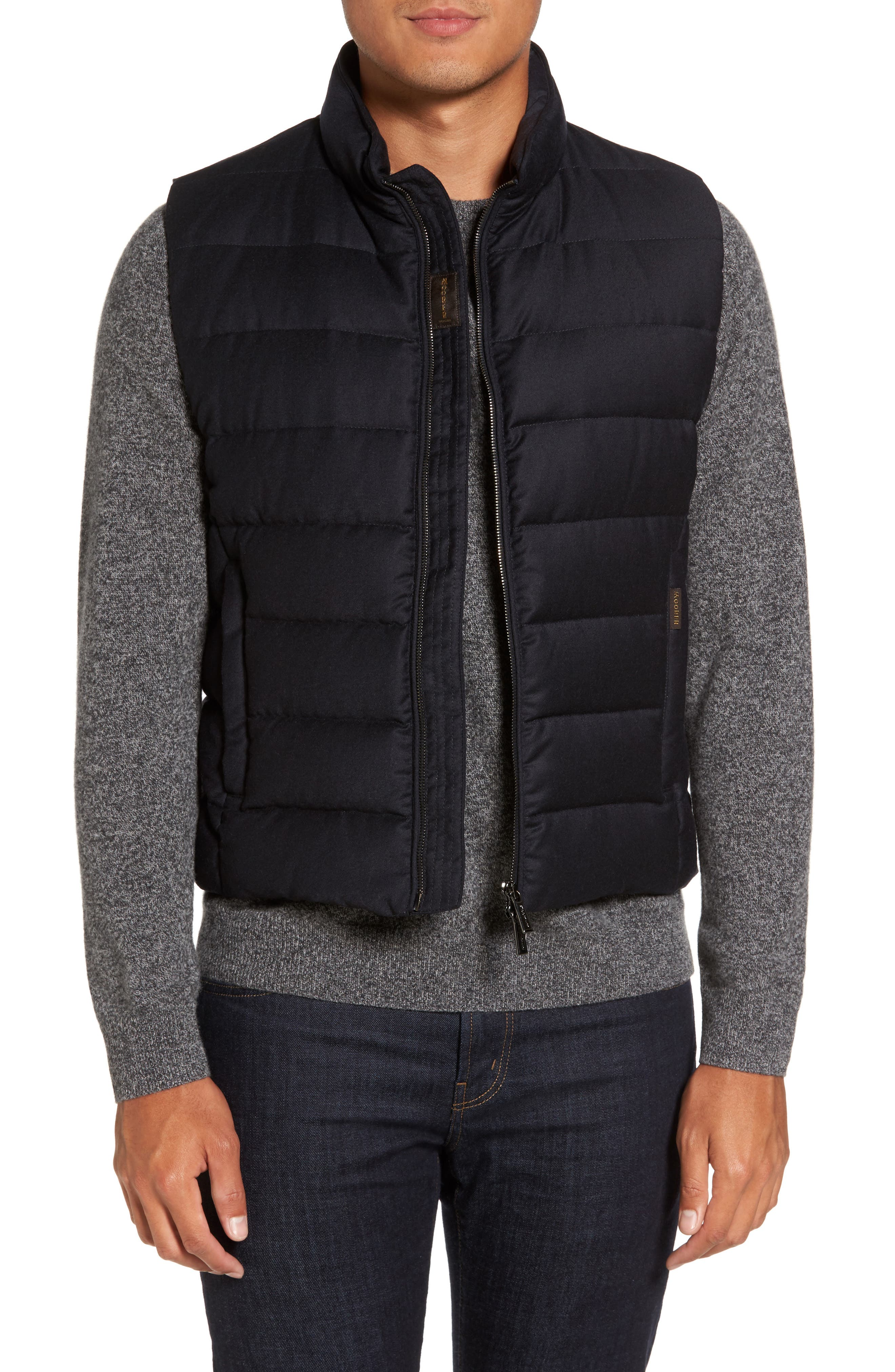 Oliver L Wool & Cashmere Flannel Waterproof Vest,                         Main,                         color, Blue
