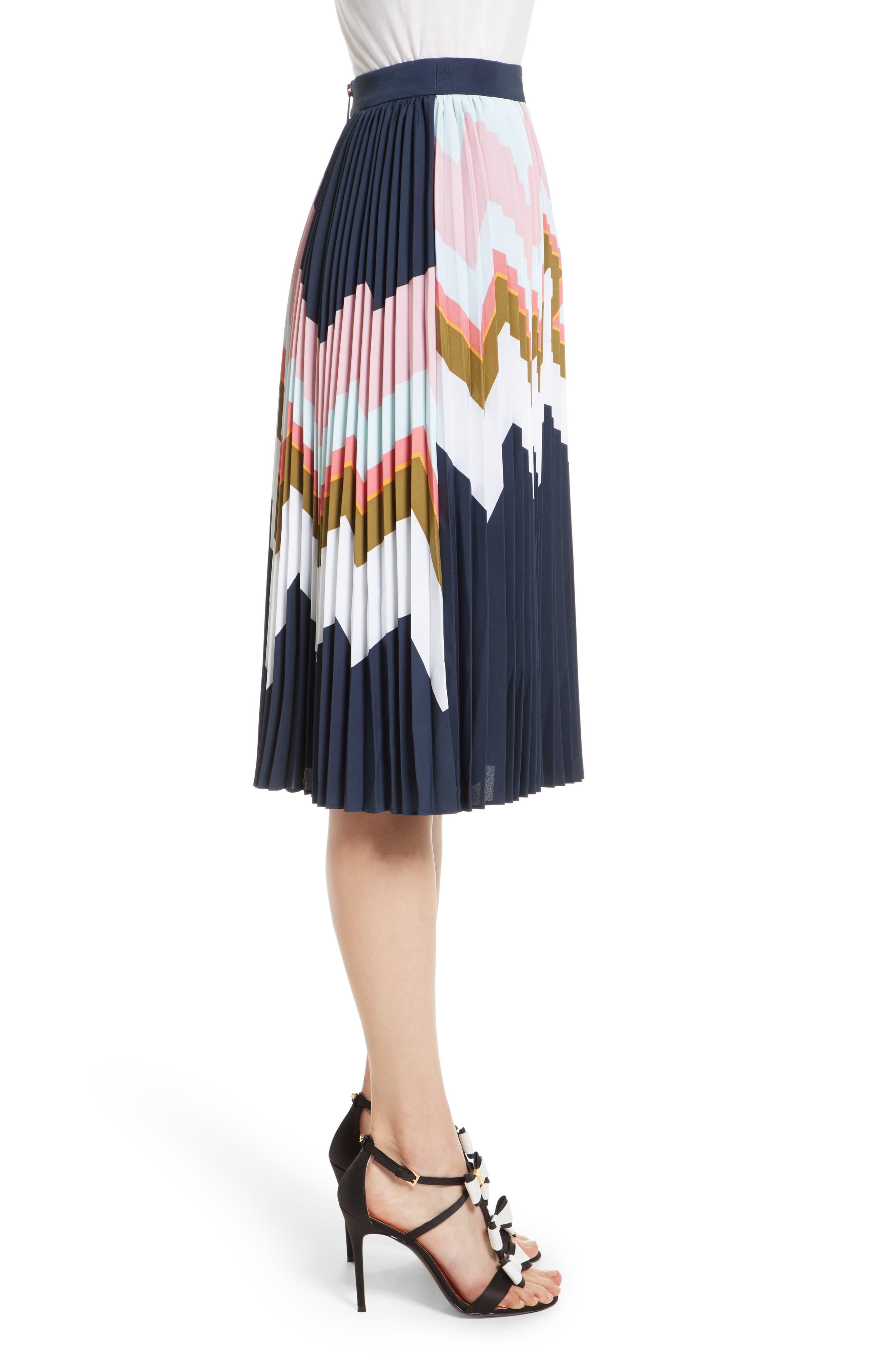 Evianna Mississippi Print Pleated Skirt,                             Alternate thumbnail 3, color,                             Navy
