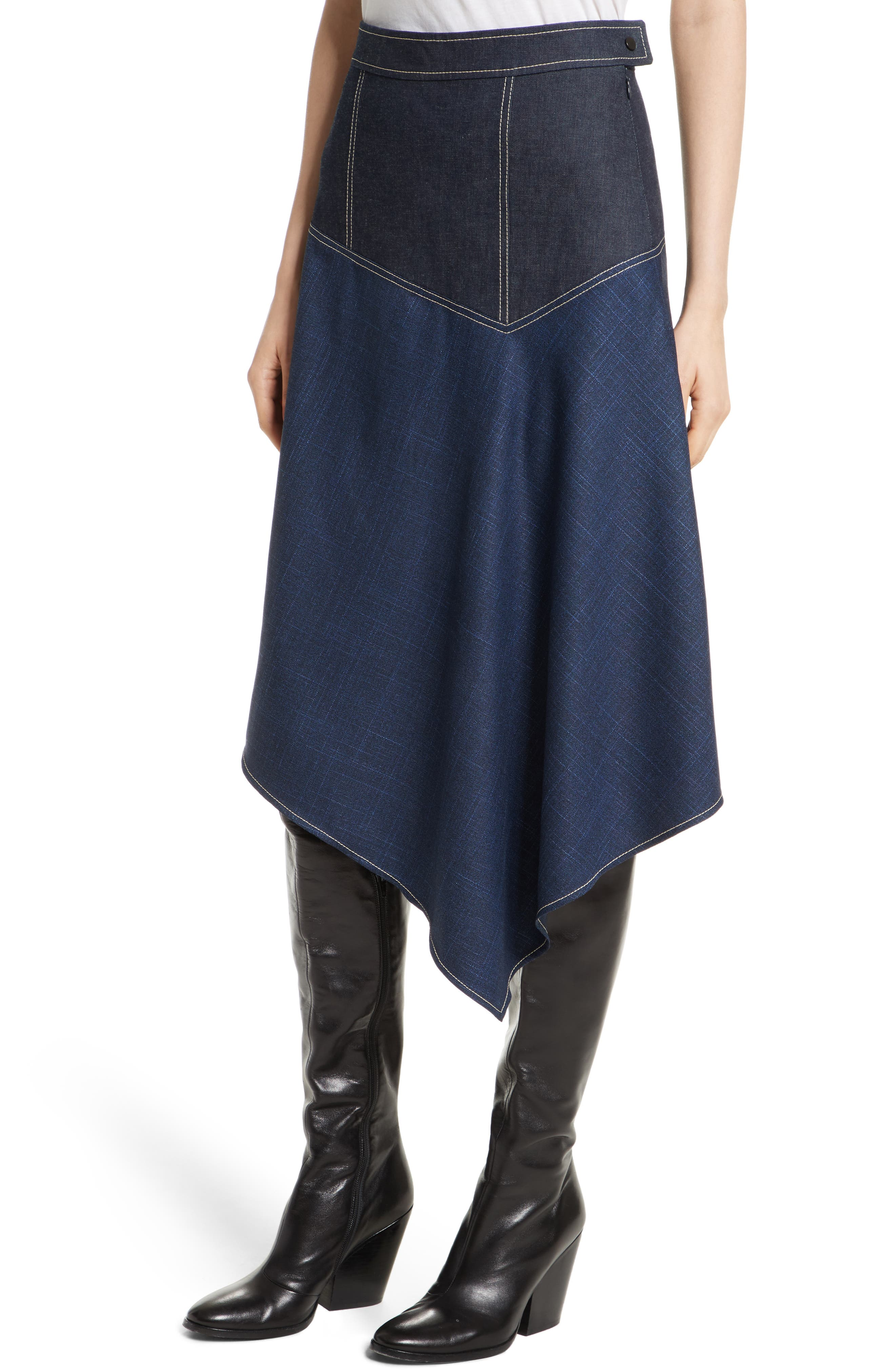 Alternate Image 4  - Colovos Asymmetrical Mixed Media Skirt
