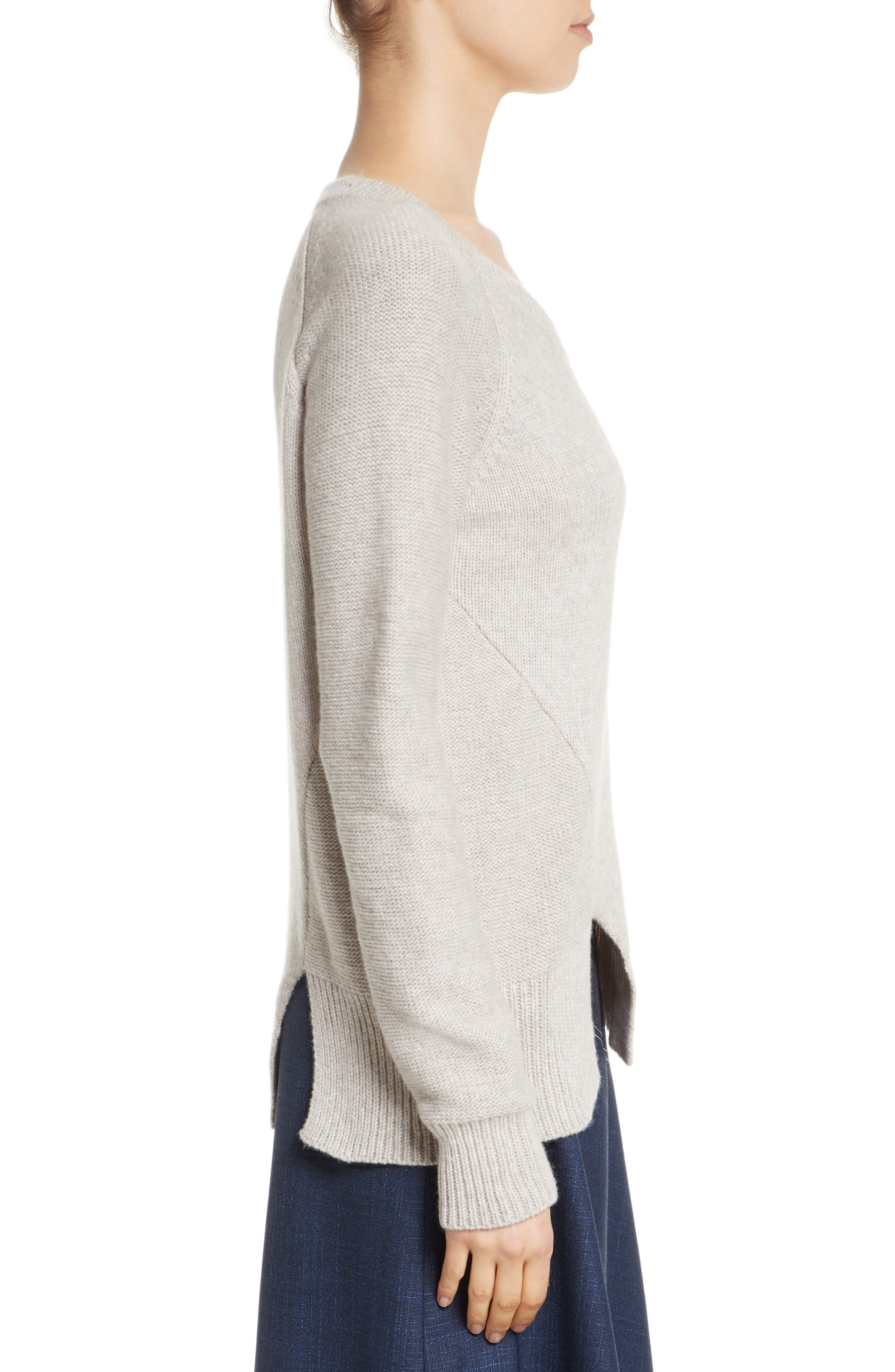 Asymmetrical Wide Neck Sweater,                             Alternate thumbnail 3, color,                             Sand