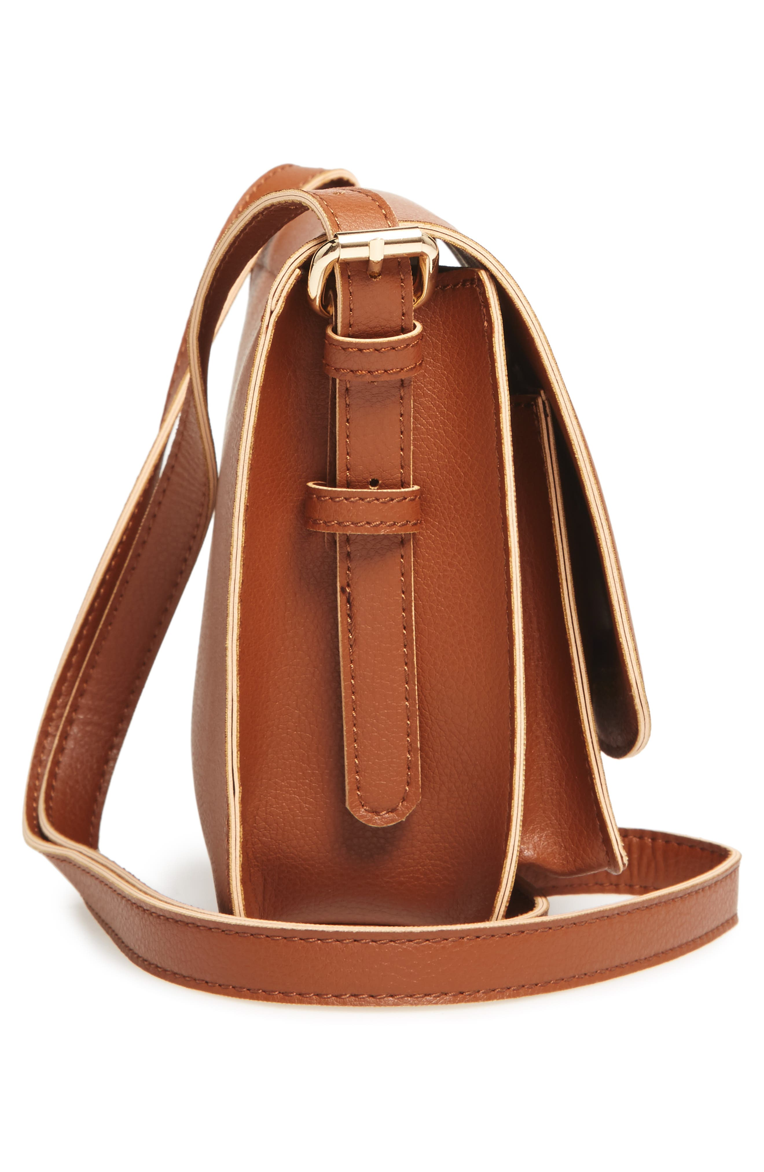 'Michelle' Faux Leather Crossbody Bag,                             Alternate thumbnail 5, color,                             New Cognac