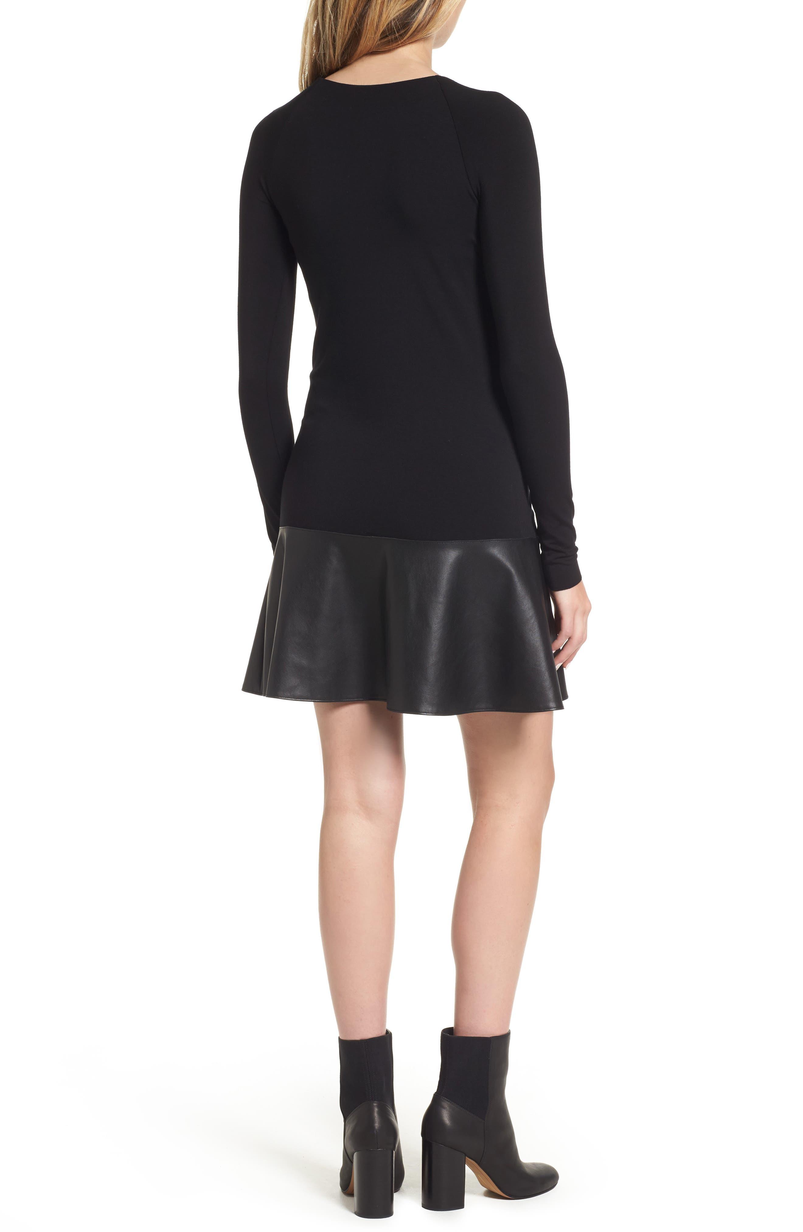 Georgina Faux Leather & Jersey Dress,                             Alternate thumbnail 2, color,                             Black