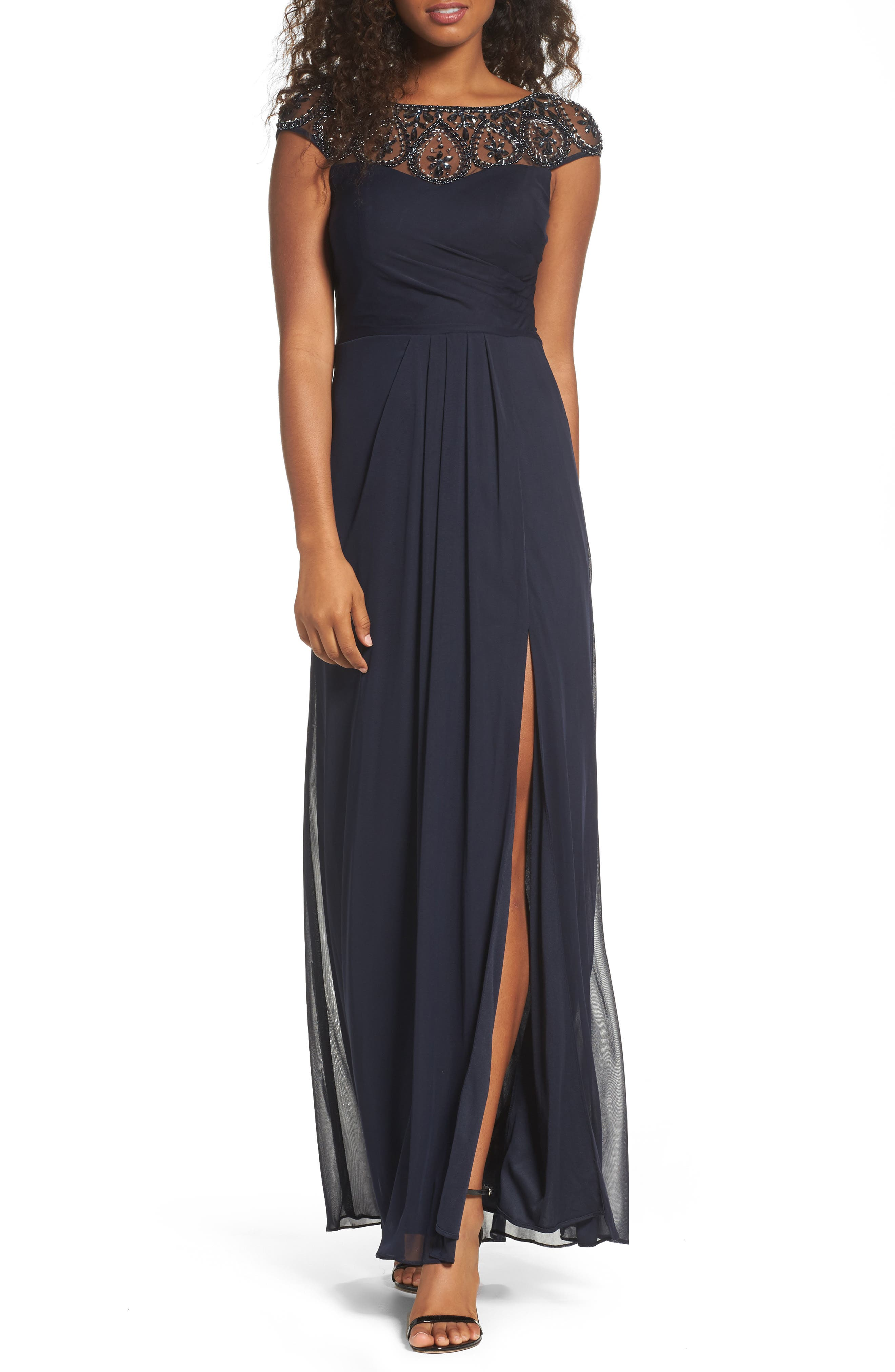 Beaded Mesh Gown,                         Main,                         color, Navy/ Navy
