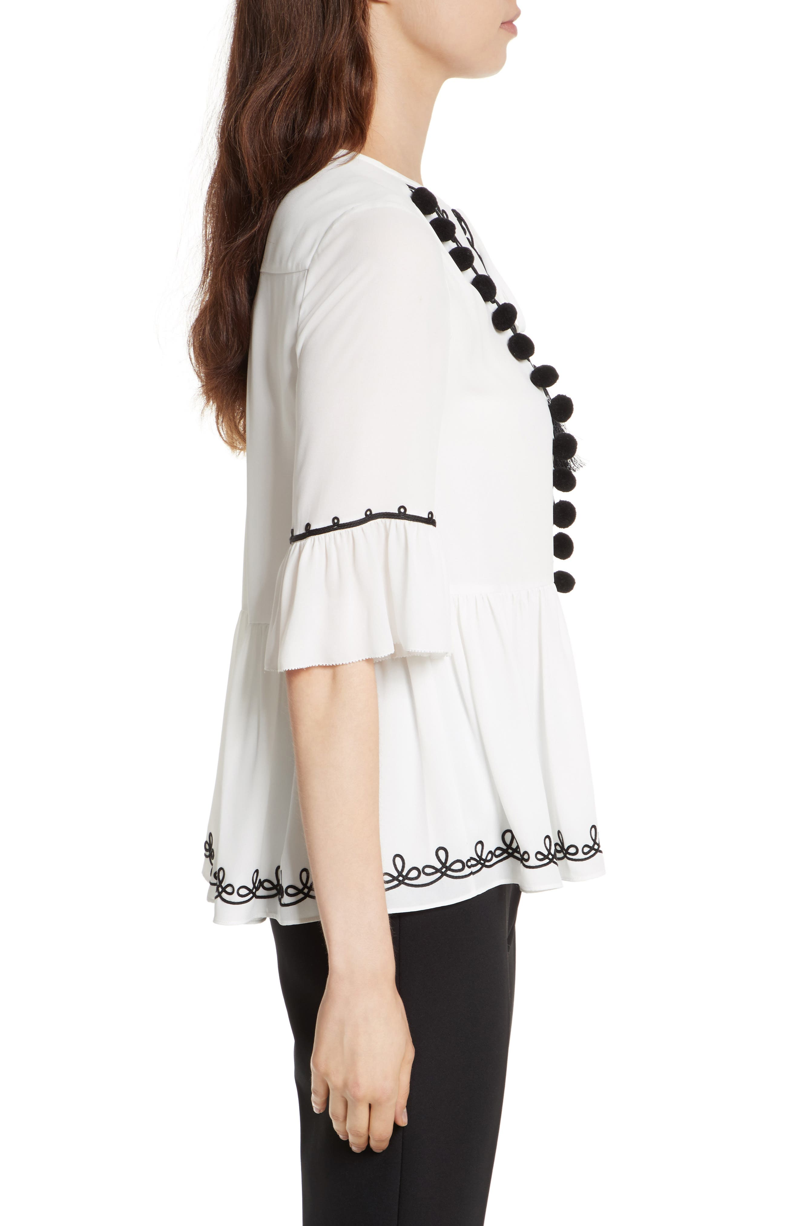 pom embroidered top,                             Alternate thumbnail 4, color,                             Cream