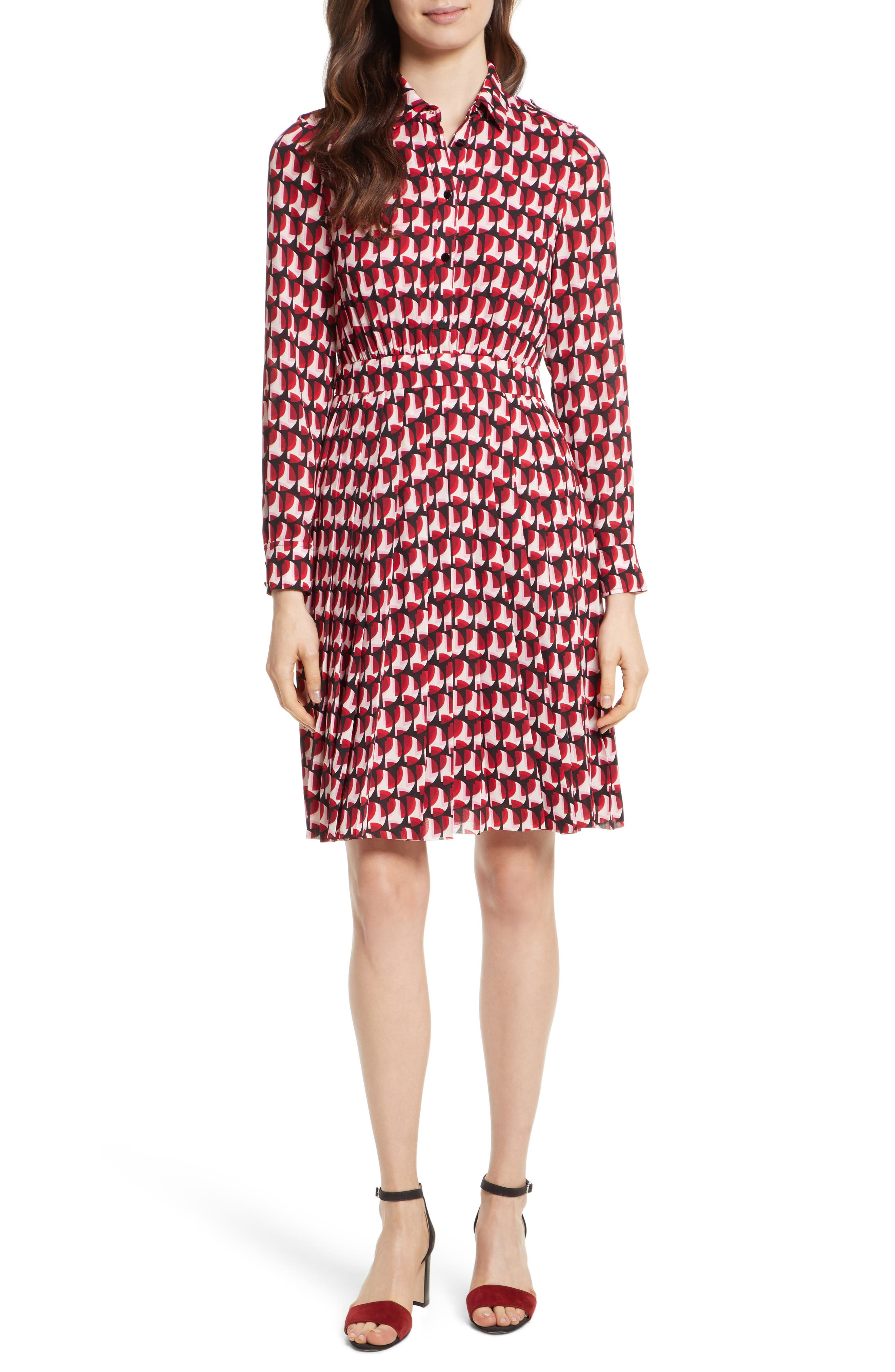 crescent shirtdress,                         Main,                         color, Charm Red