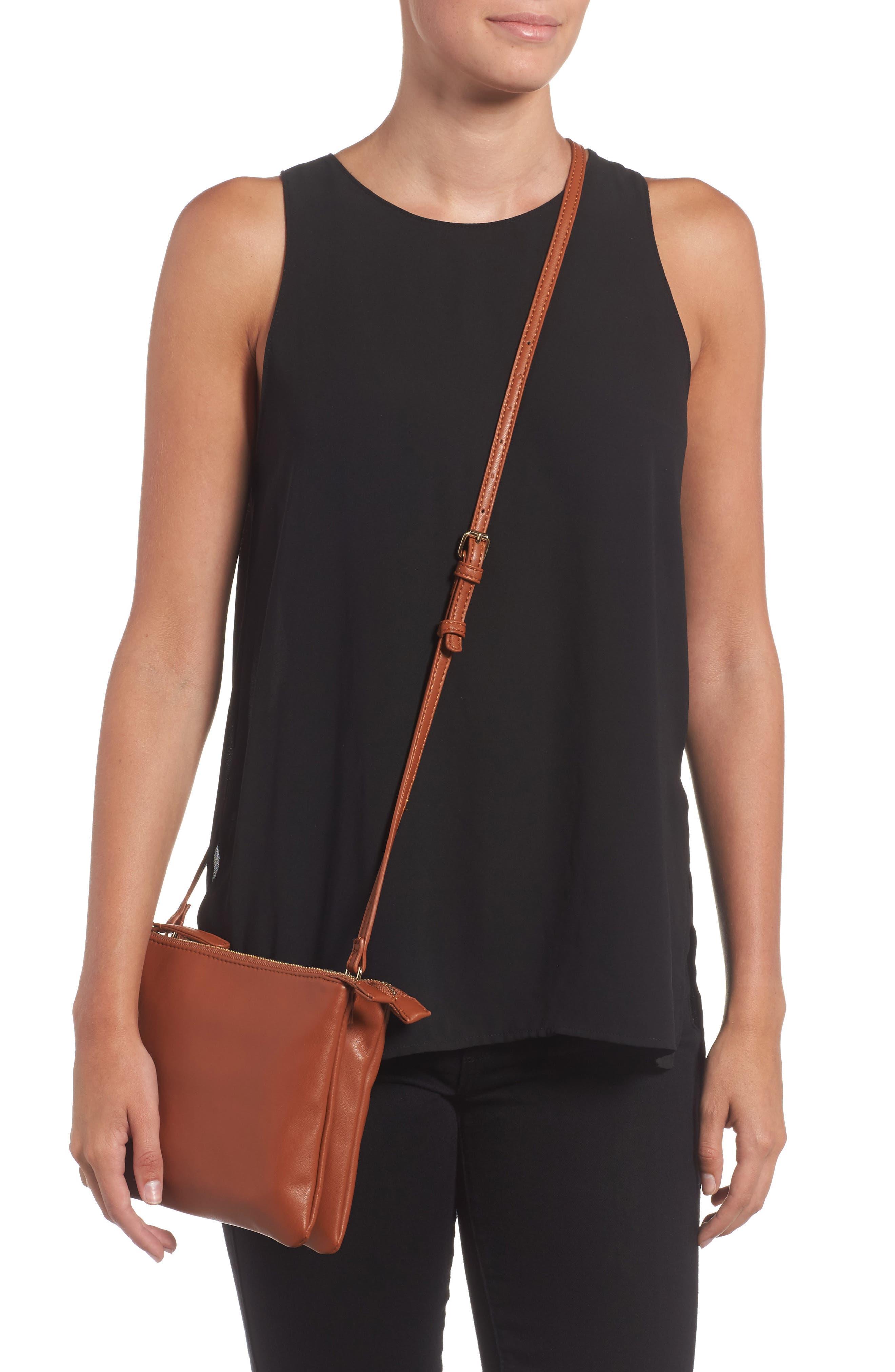 Madden Faux Leather Pouch Crossbody Bag,                             Alternate thumbnail 6, color,                             Cognac