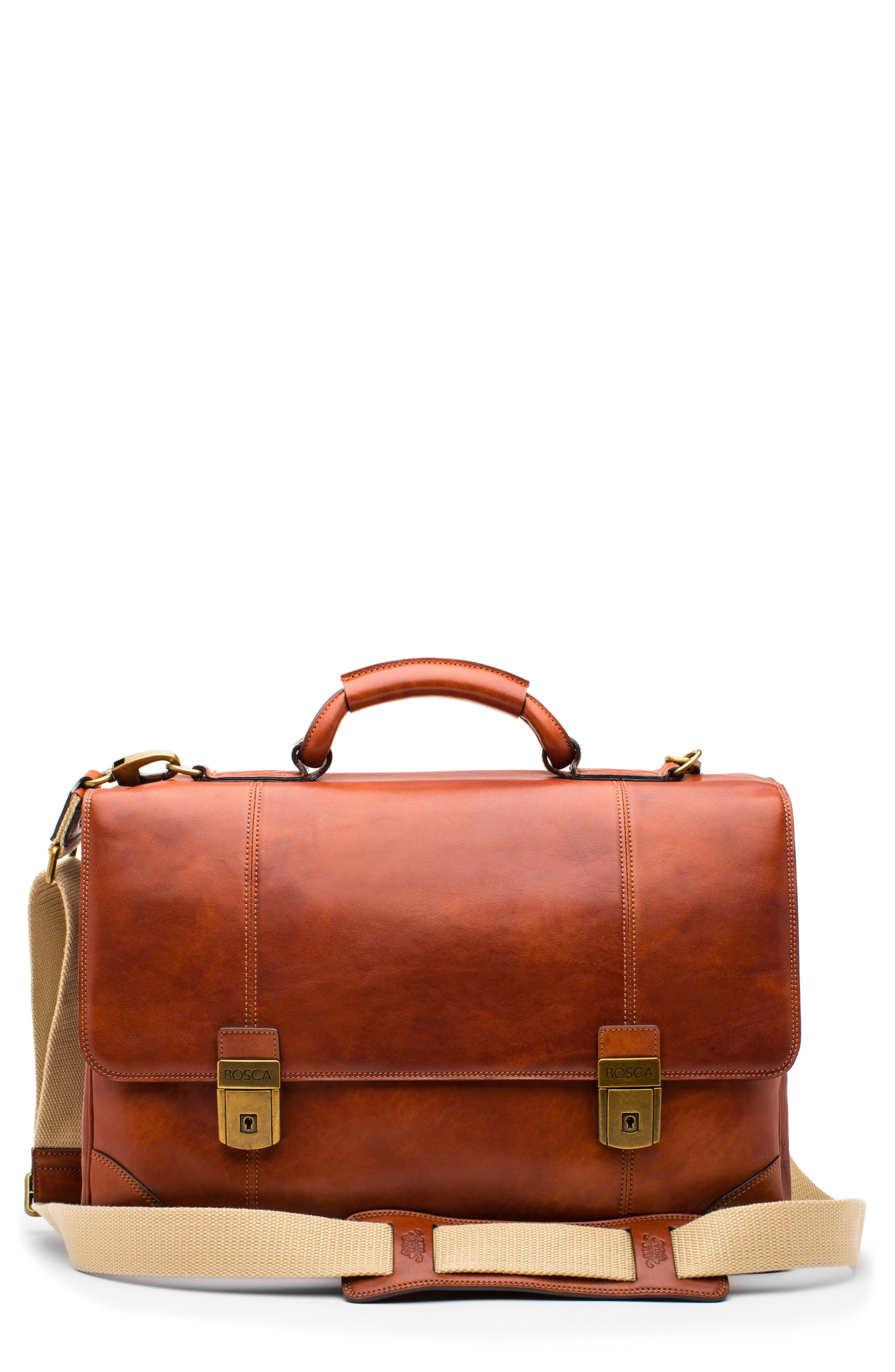 Dolce Leather Briefcase,                             Main thumbnail 1, color,                             Amber