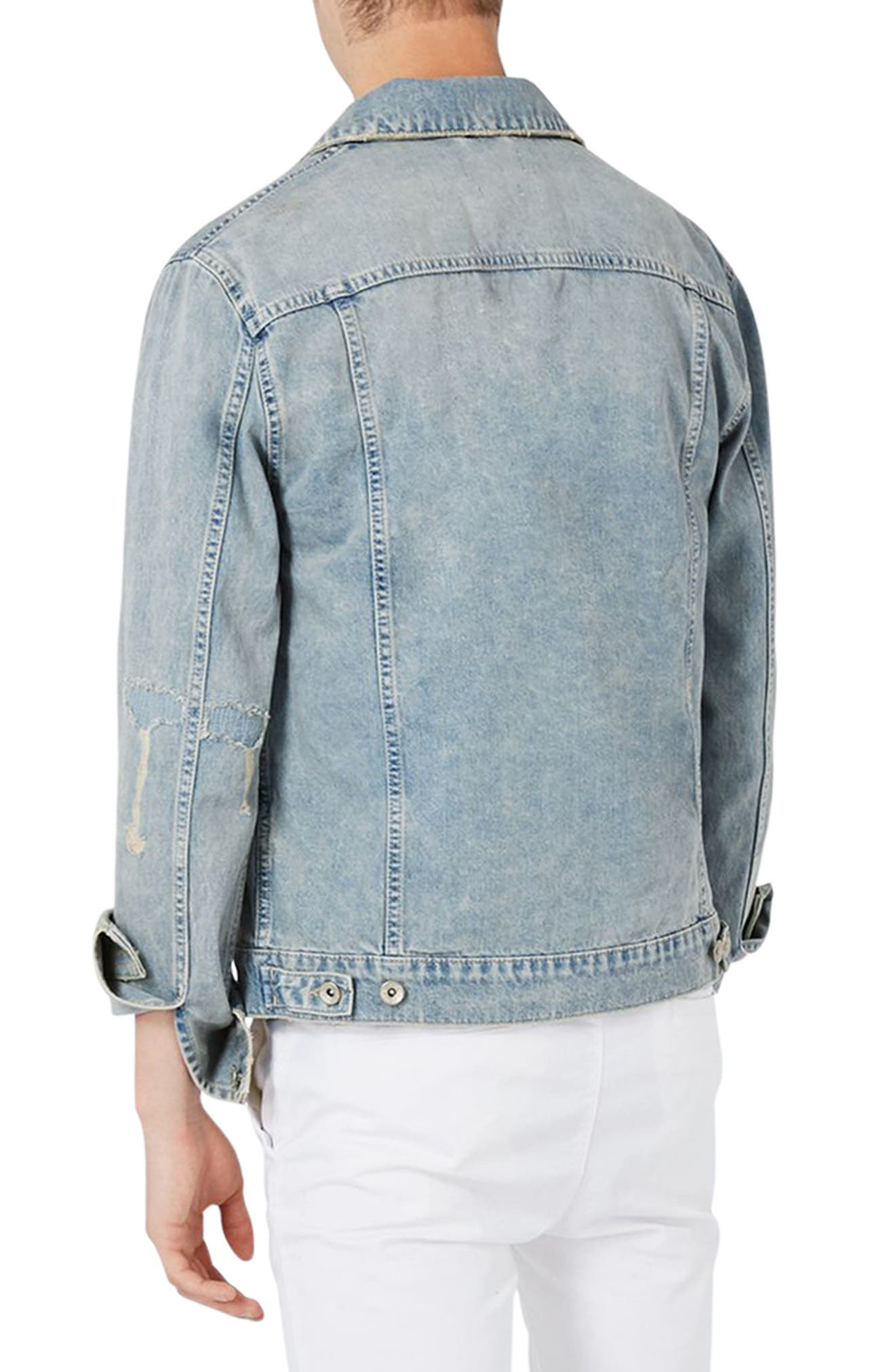 Alternate Image 2  - Topman Distressed Denim Western Jacket