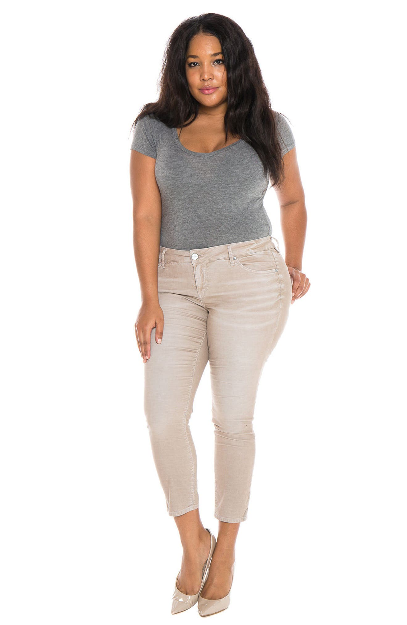 Alternate Image 6  - SLINK Jeans Stretch Corduroy Cropped Skinny Pants (Plus Size)