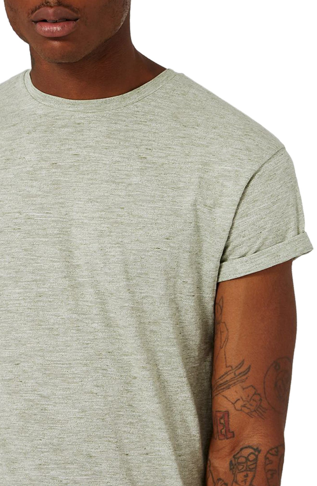 Muscle Fit Roll Sleeve T-Shirt,                             Alternate thumbnail 3, color,                             Light Olive