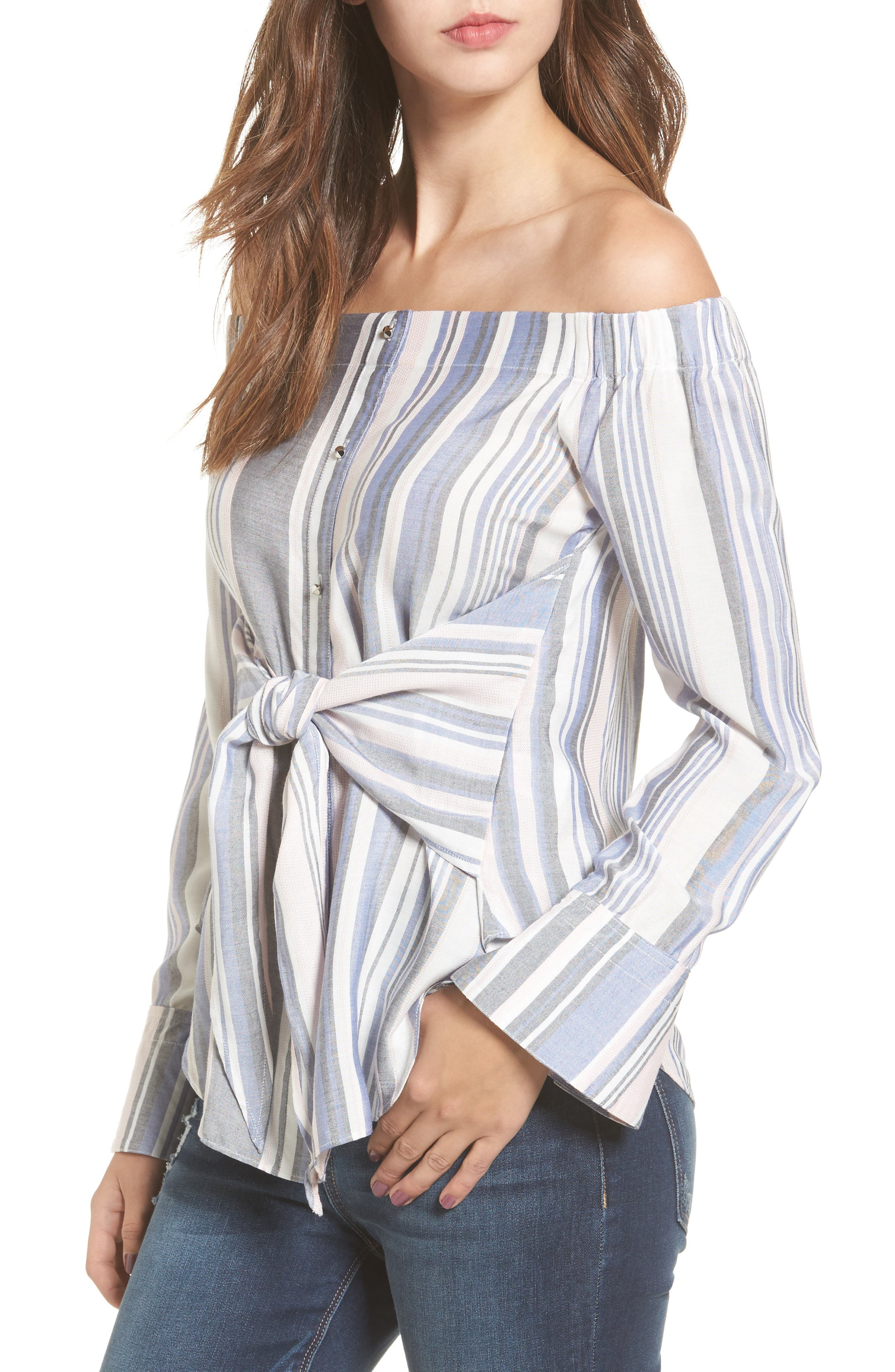 Main Image - Love, Fire Tie Front Stripe Off the Shoulder Top