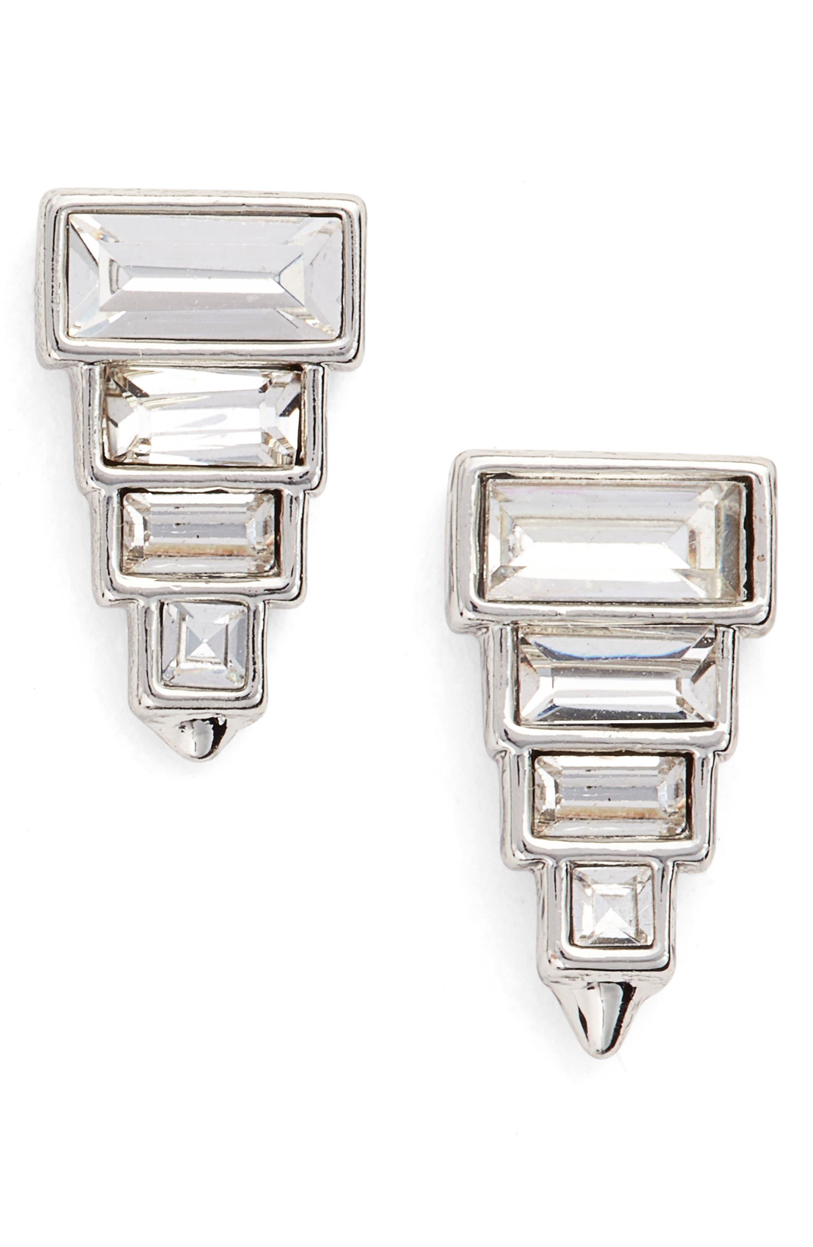 Stacked Crystal Studs,                         Main,                         color, Clear/ Silver