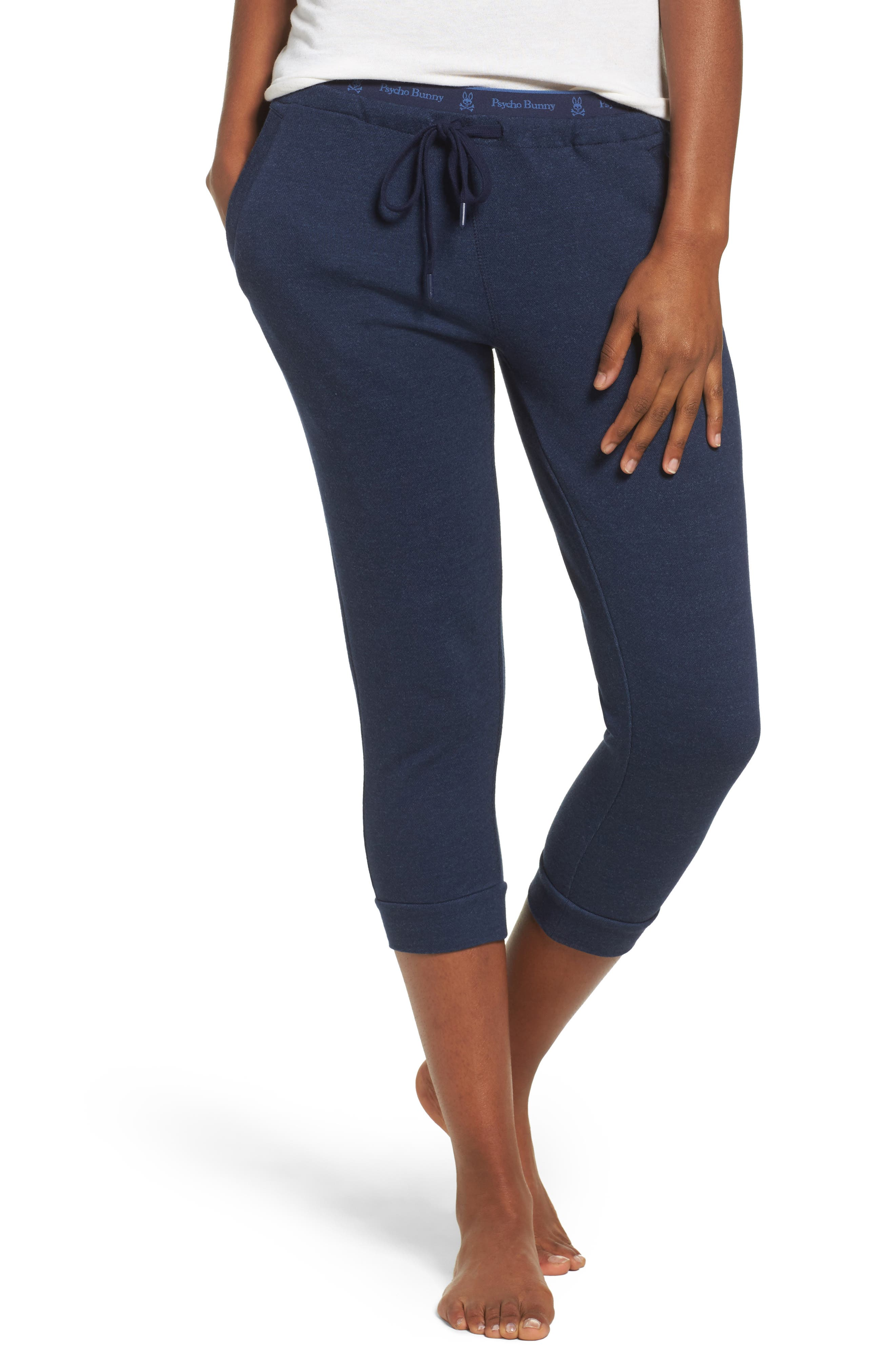 French Terry Pants,                         Main,                         color, Peacoat