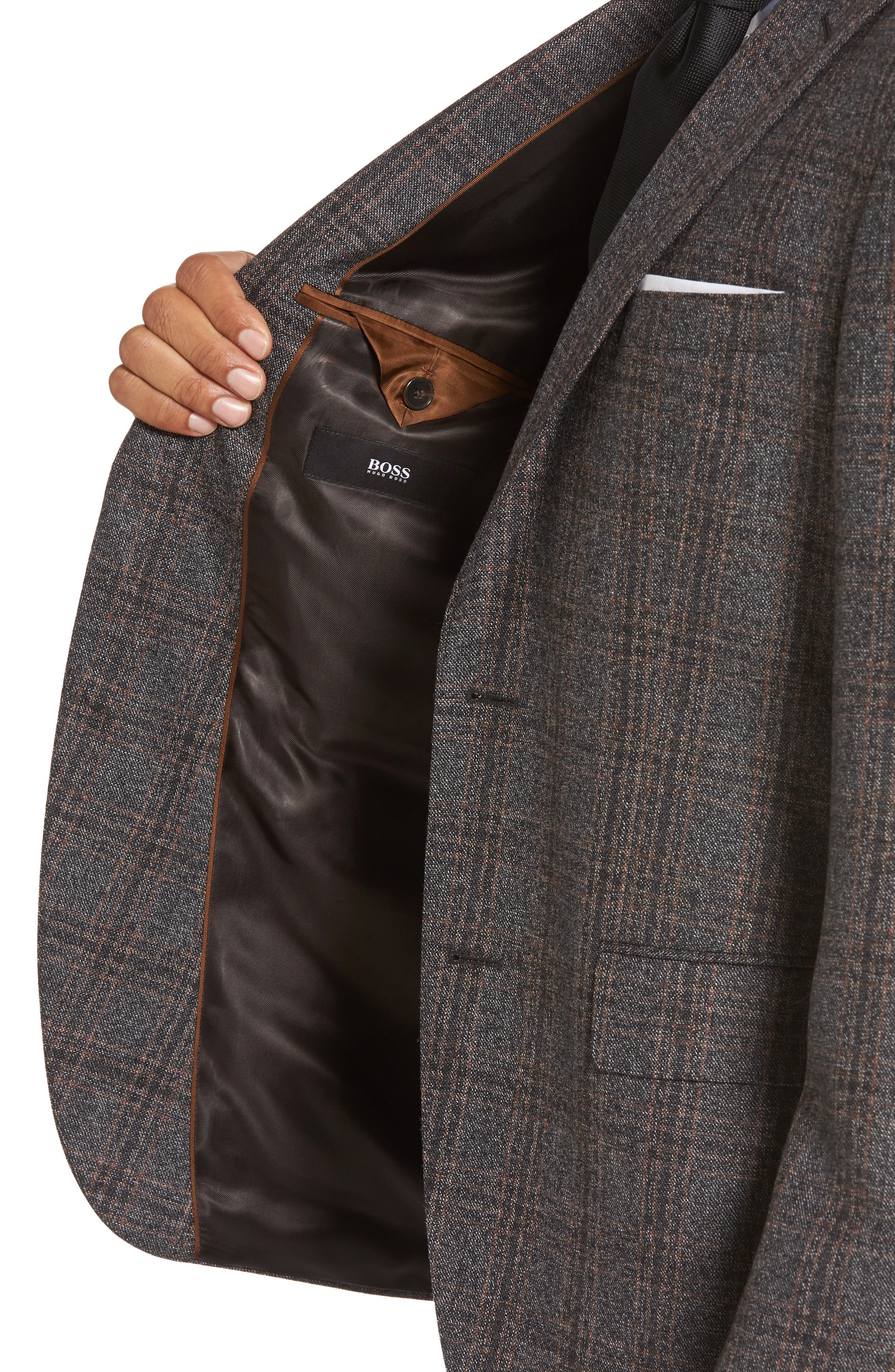 Jeen Trim Fit Plaid Wool Sport Coat,                             Alternate thumbnail 4, color,                             Dark Brown