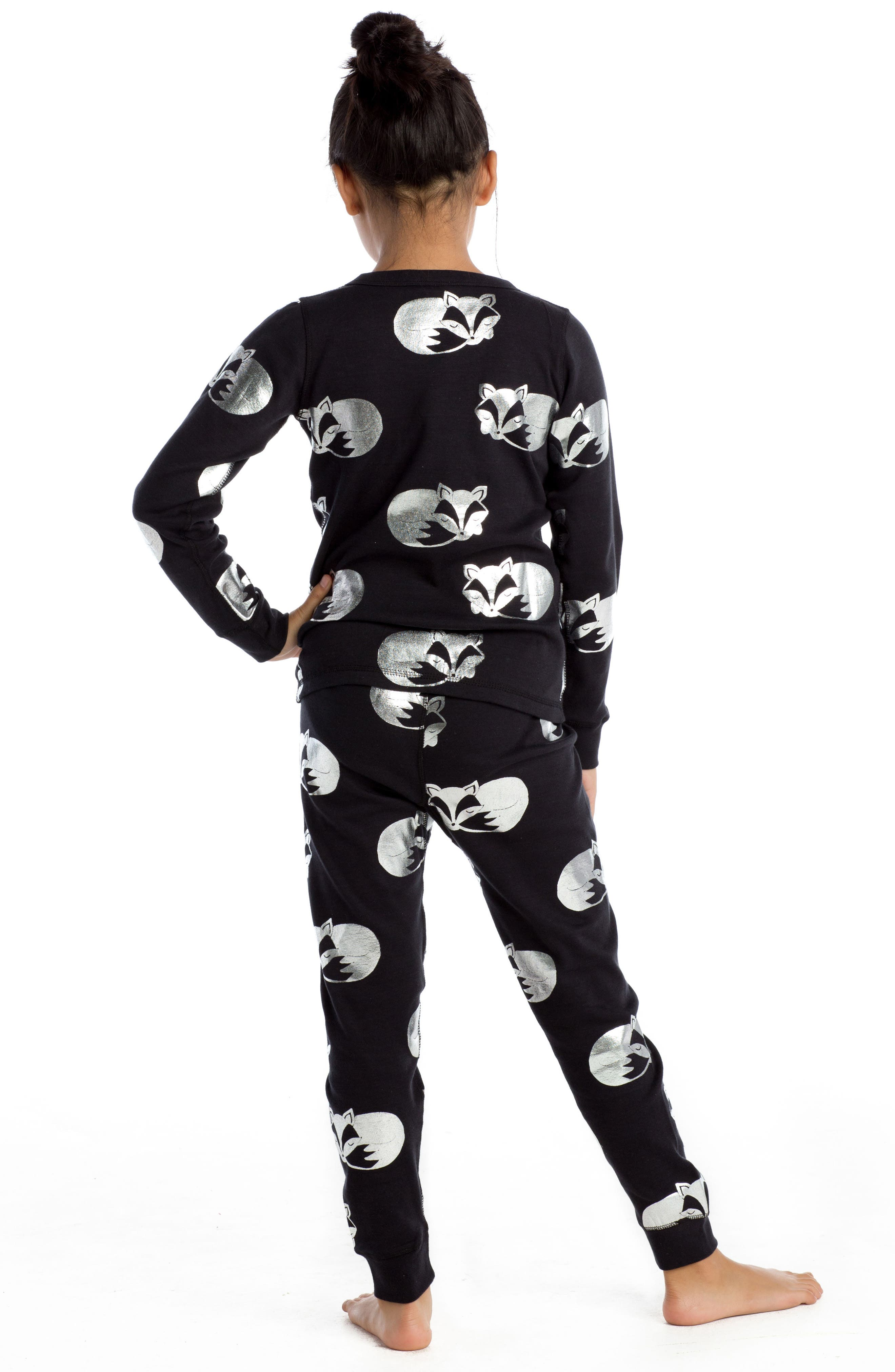 Alternate Image 2  - Masalababy Sleeping Foxes Fitted Two-Piece Pajamas (Toddler Girls, Little Girls & Big Girls)