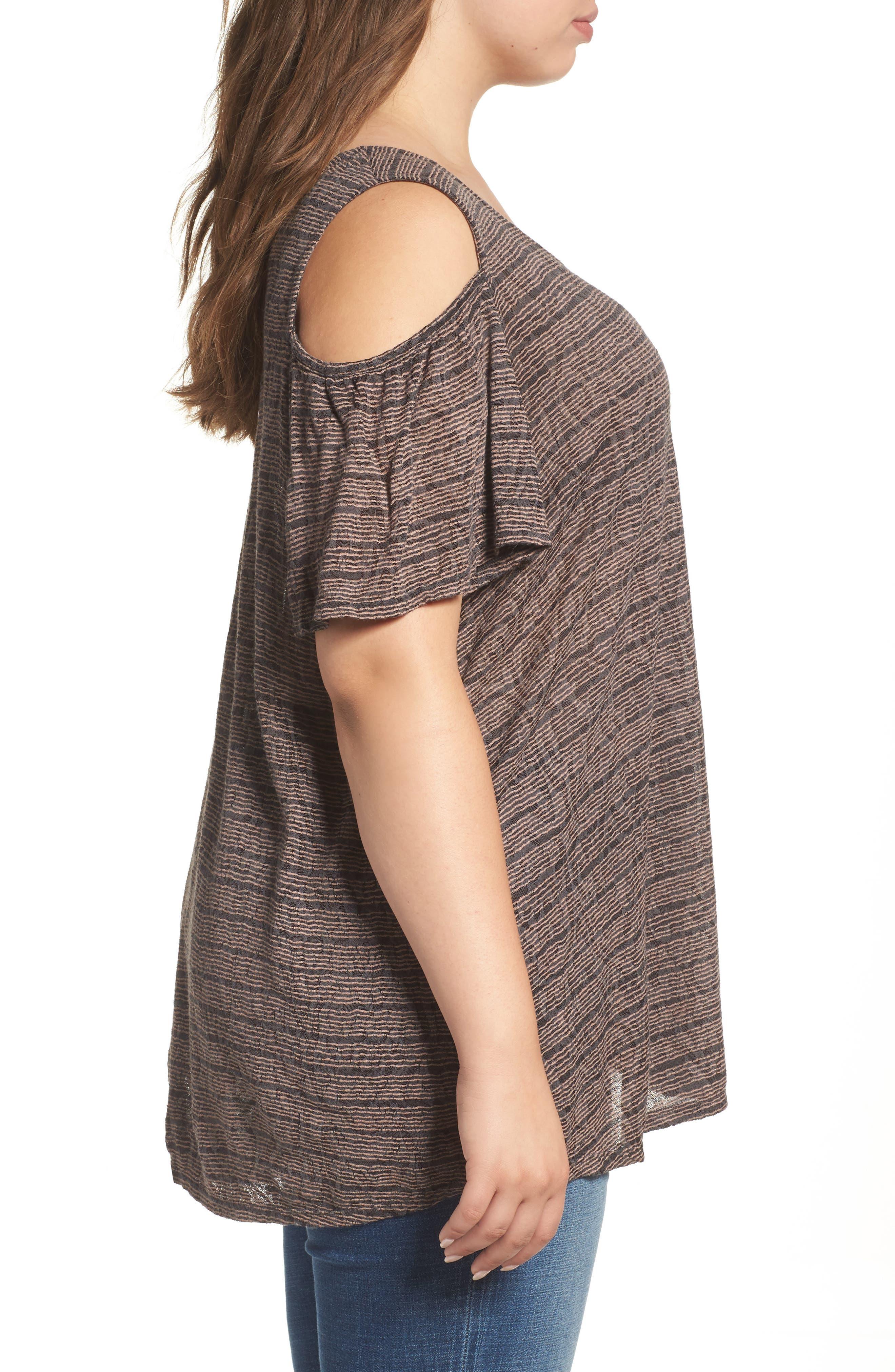 Alternate Image 3  - Lucky Brand Stripe Cold Shoulder Top (Plus Size)