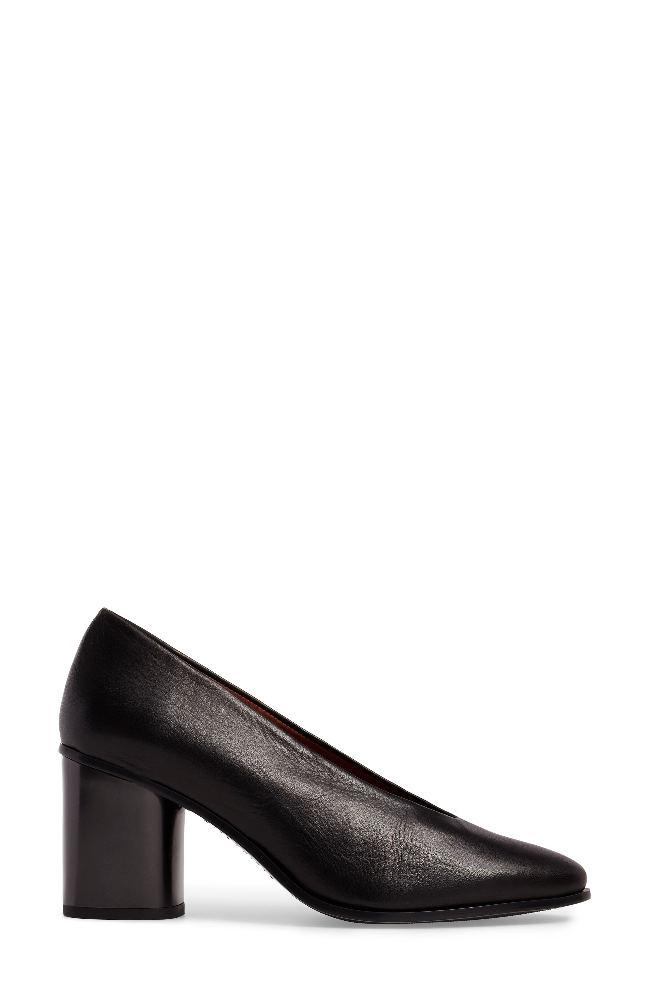 Maddie Block Heel Pump,                             Alternate thumbnail 3, color,                             Soho Black Leather