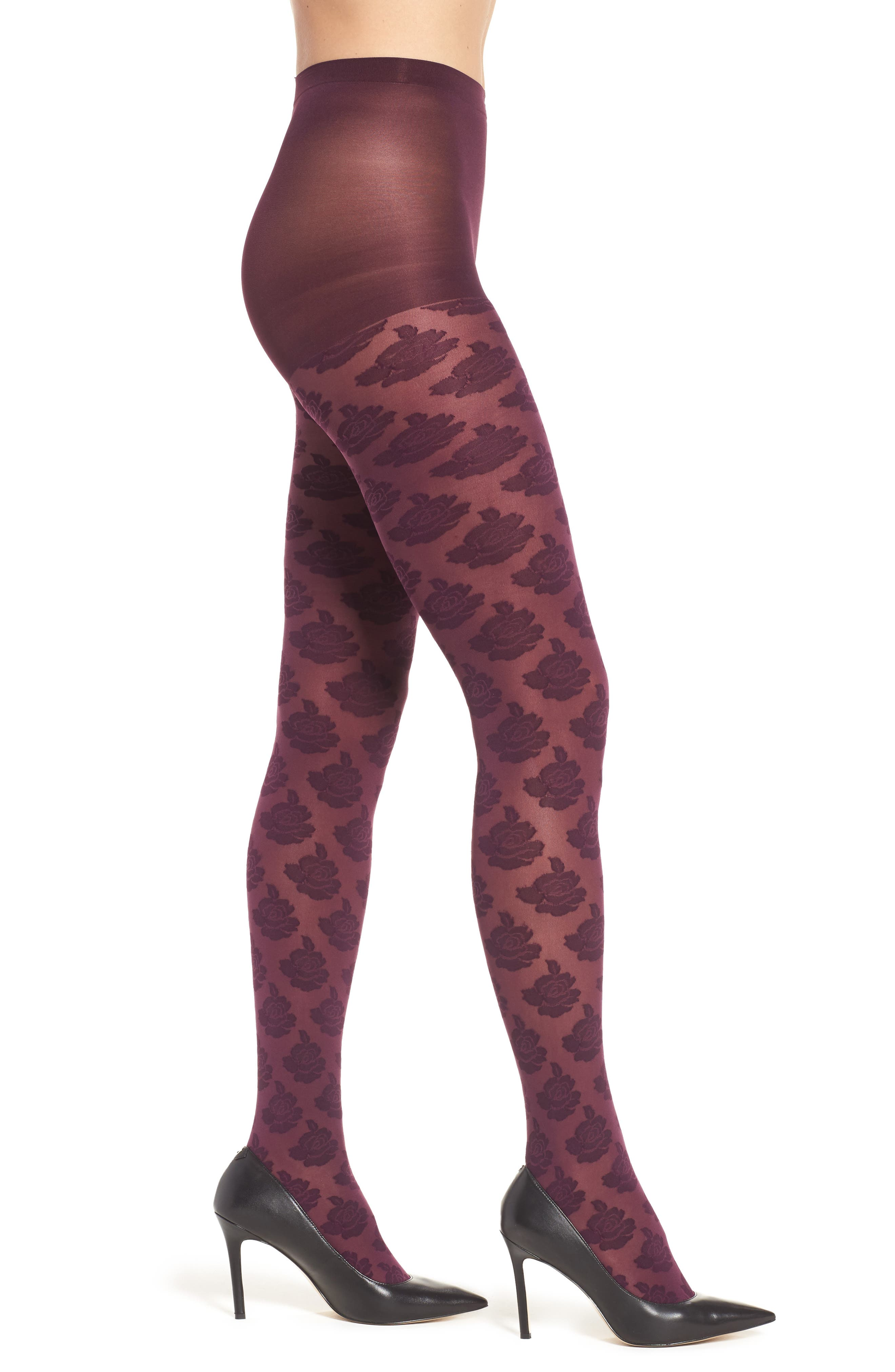 Hue Large Rose Control Top Tights
