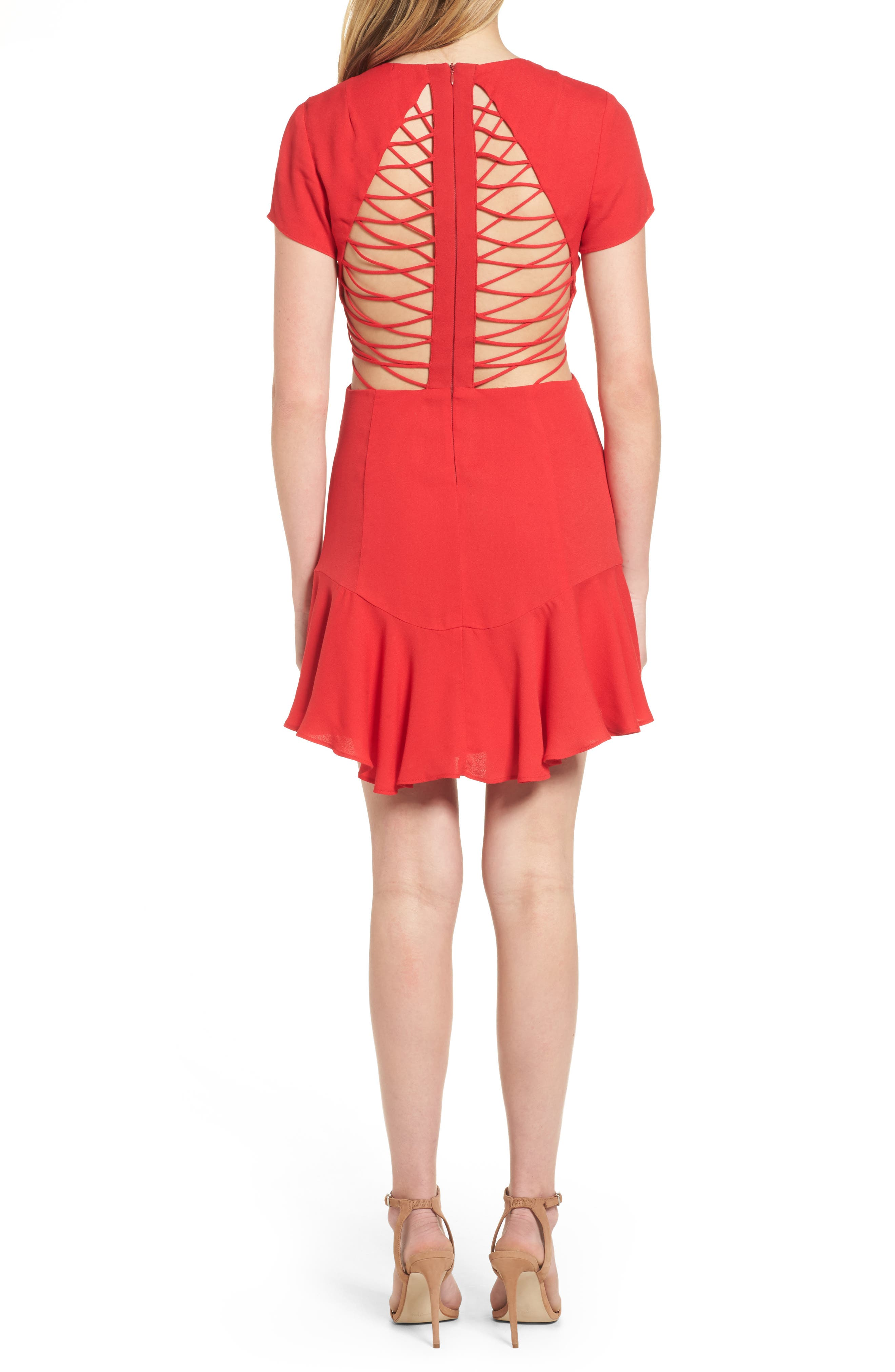 Chelsea Lattice Back Fit & Flare Dress,                         Main,                         color, Red