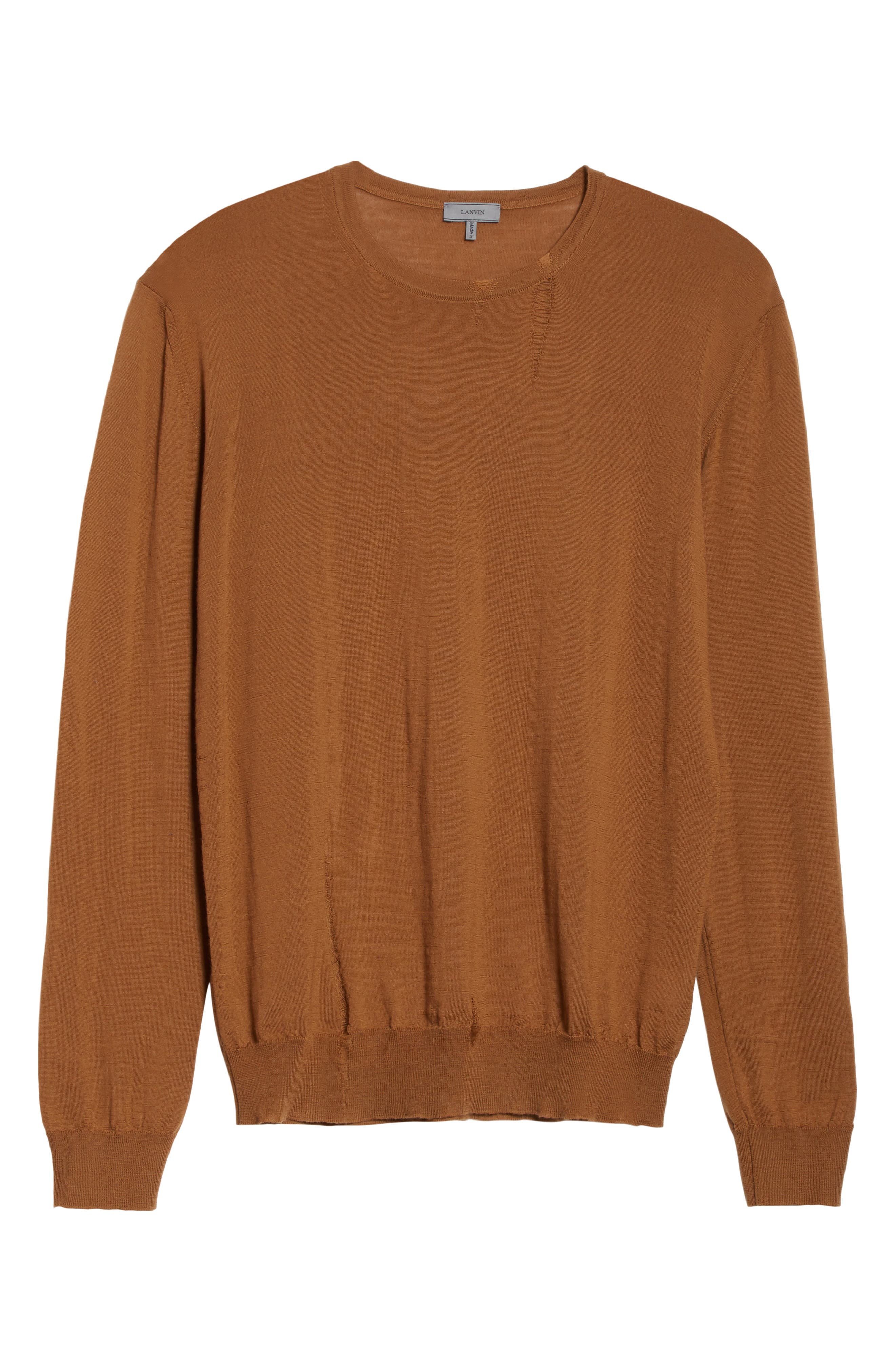 Open Stitch Wool Sweater,                             Alternate thumbnail 6, color,                             Camel