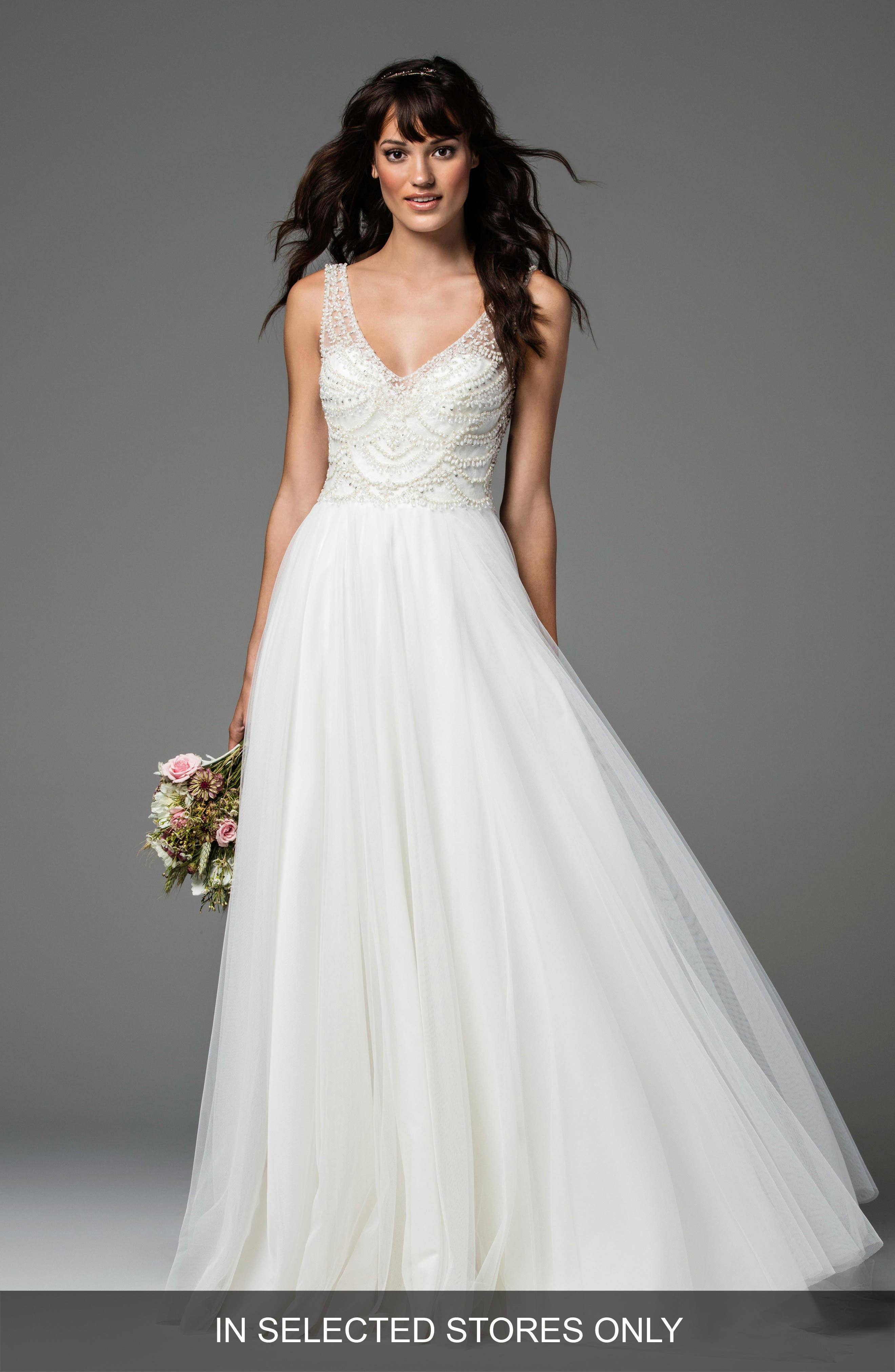 Locket Beaded Tulle A-Line Gown,                         Main,                         color, Ivory/Ivory