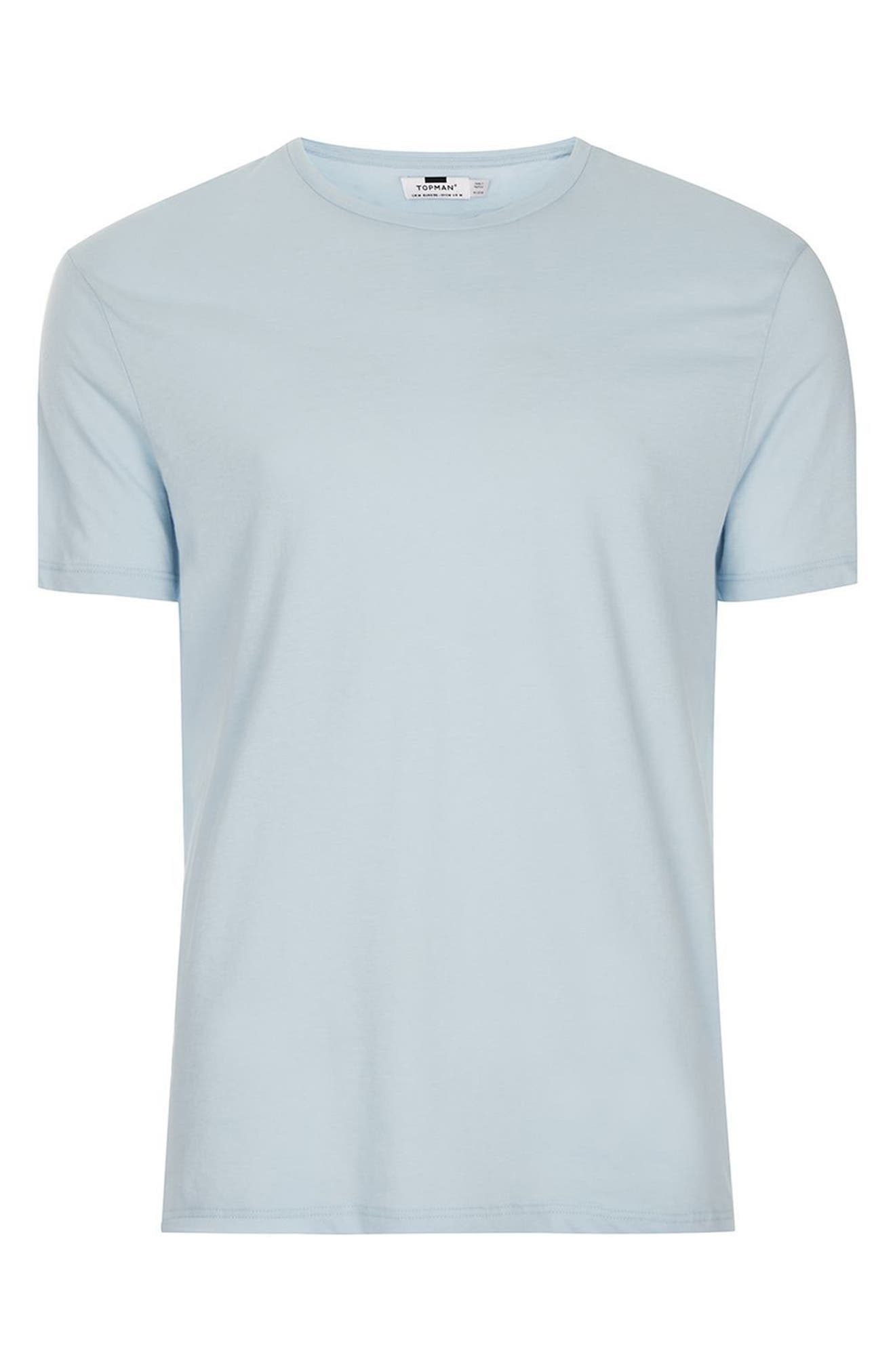 Lightweight Cotton T-Shirt,                             Alternate thumbnail 4, color,                             Light Blue