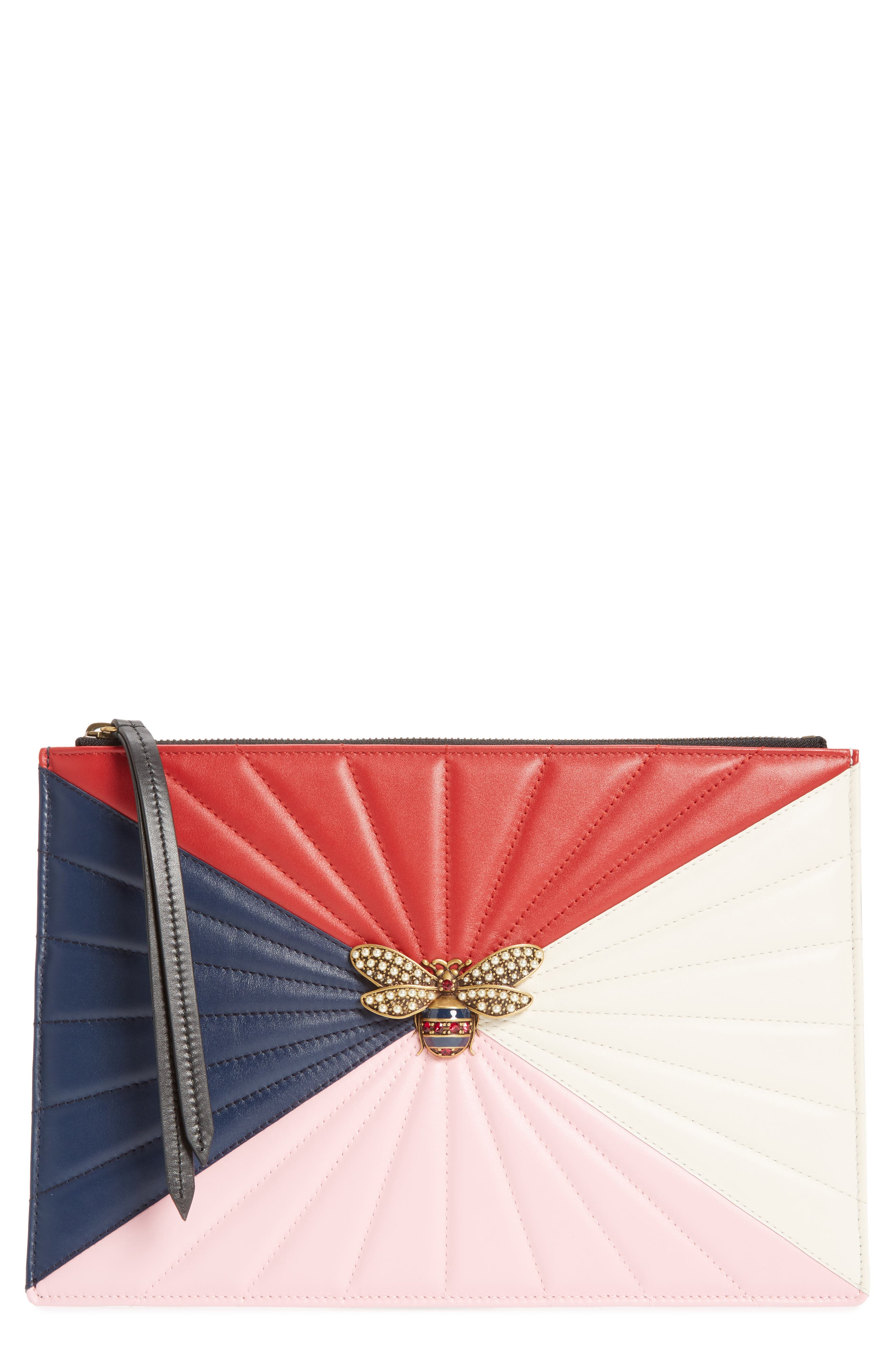 Bee Zip Pouch,                             Main thumbnail 1, color,                             Pink/Red/Navy Multi
