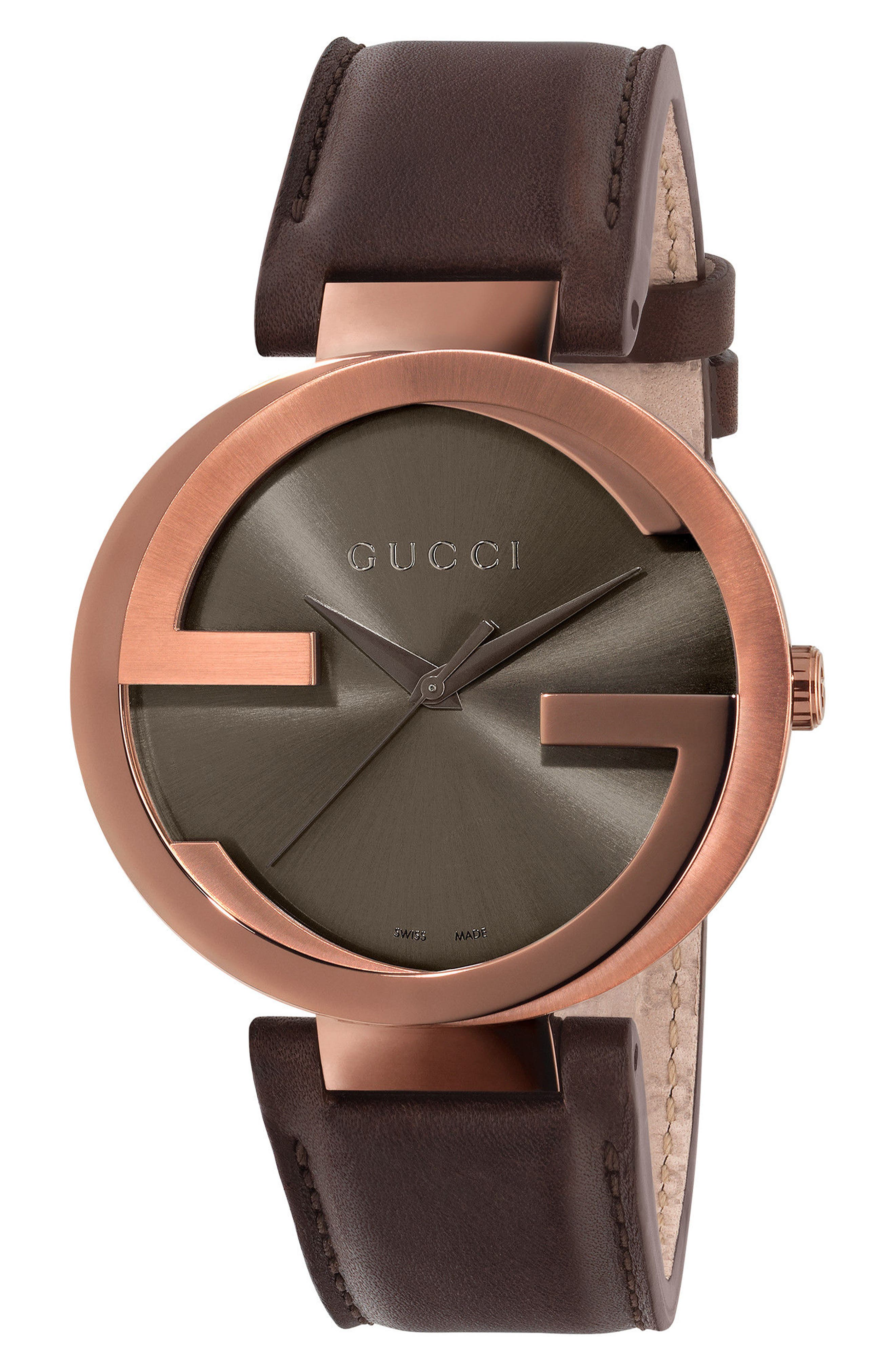 Interlocking Leather Strap Watch, 42mm,                             Main thumbnail 1, color,                             Brown