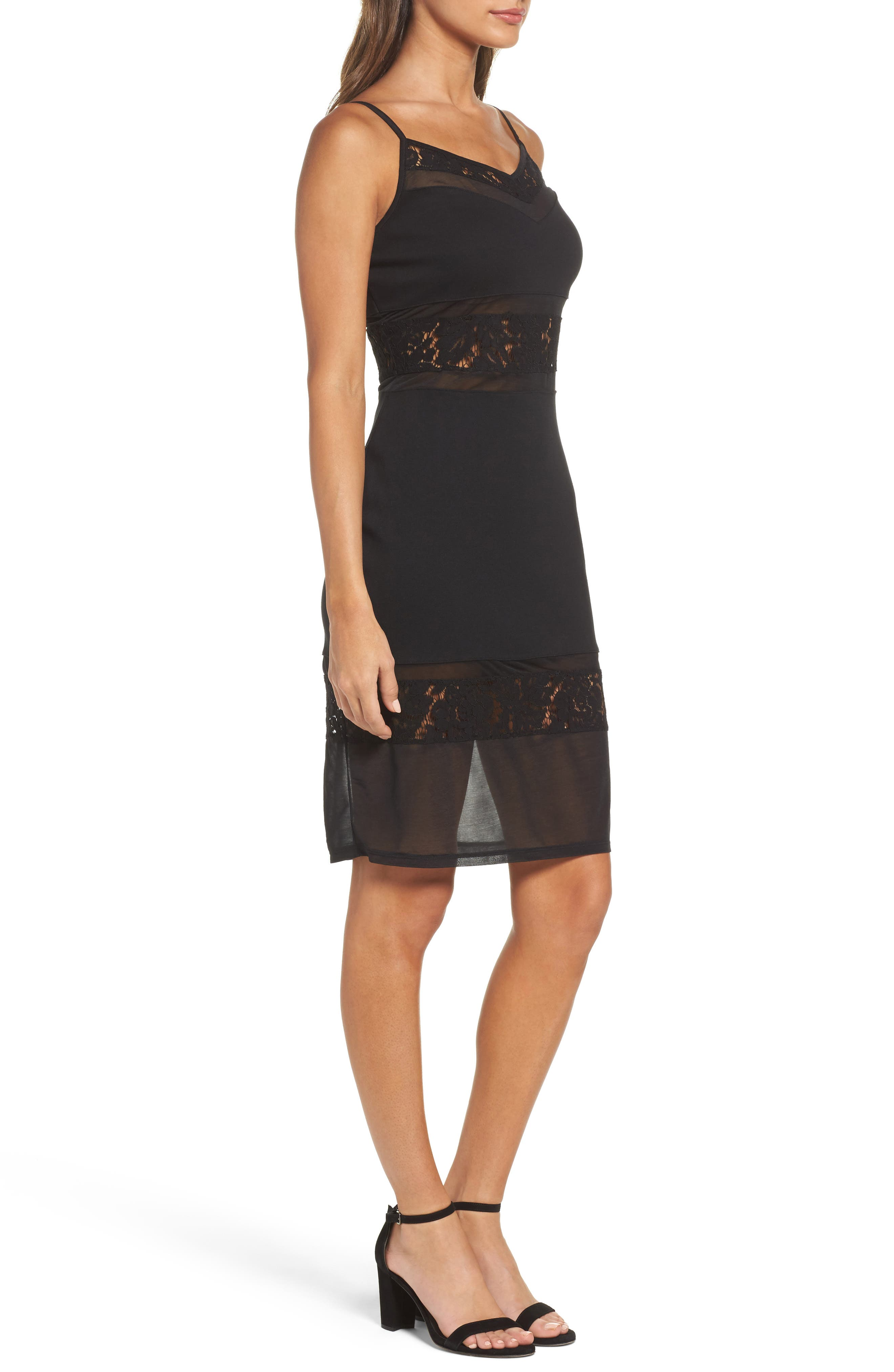 Lucky Layer Embroidered Mesh Sheath Dress,                             Alternate thumbnail 3, color,                             Black