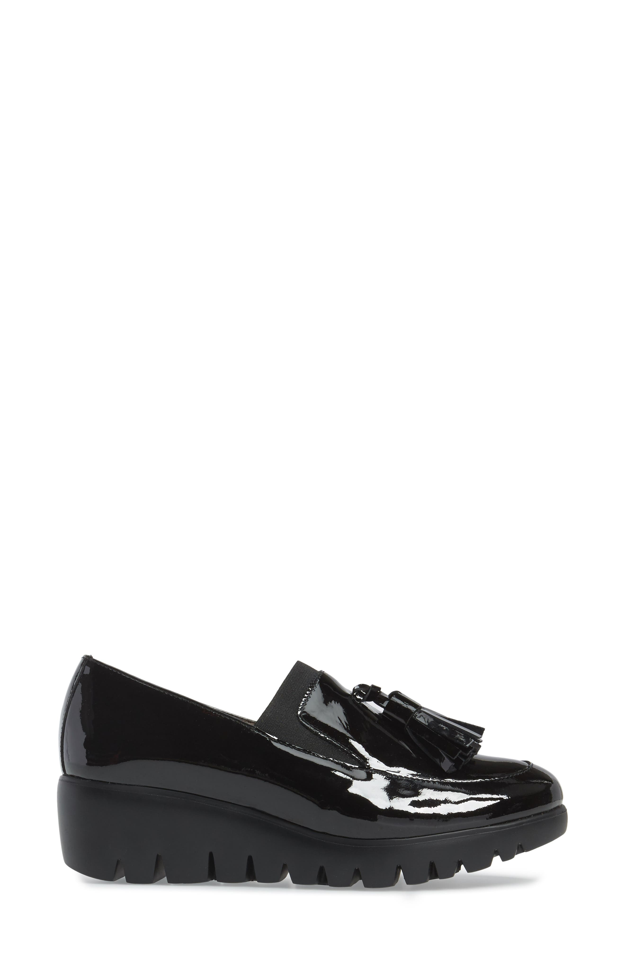 Talla Loafer Wedge,                             Alternate thumbnail 3, color,                             Black Patent Leather