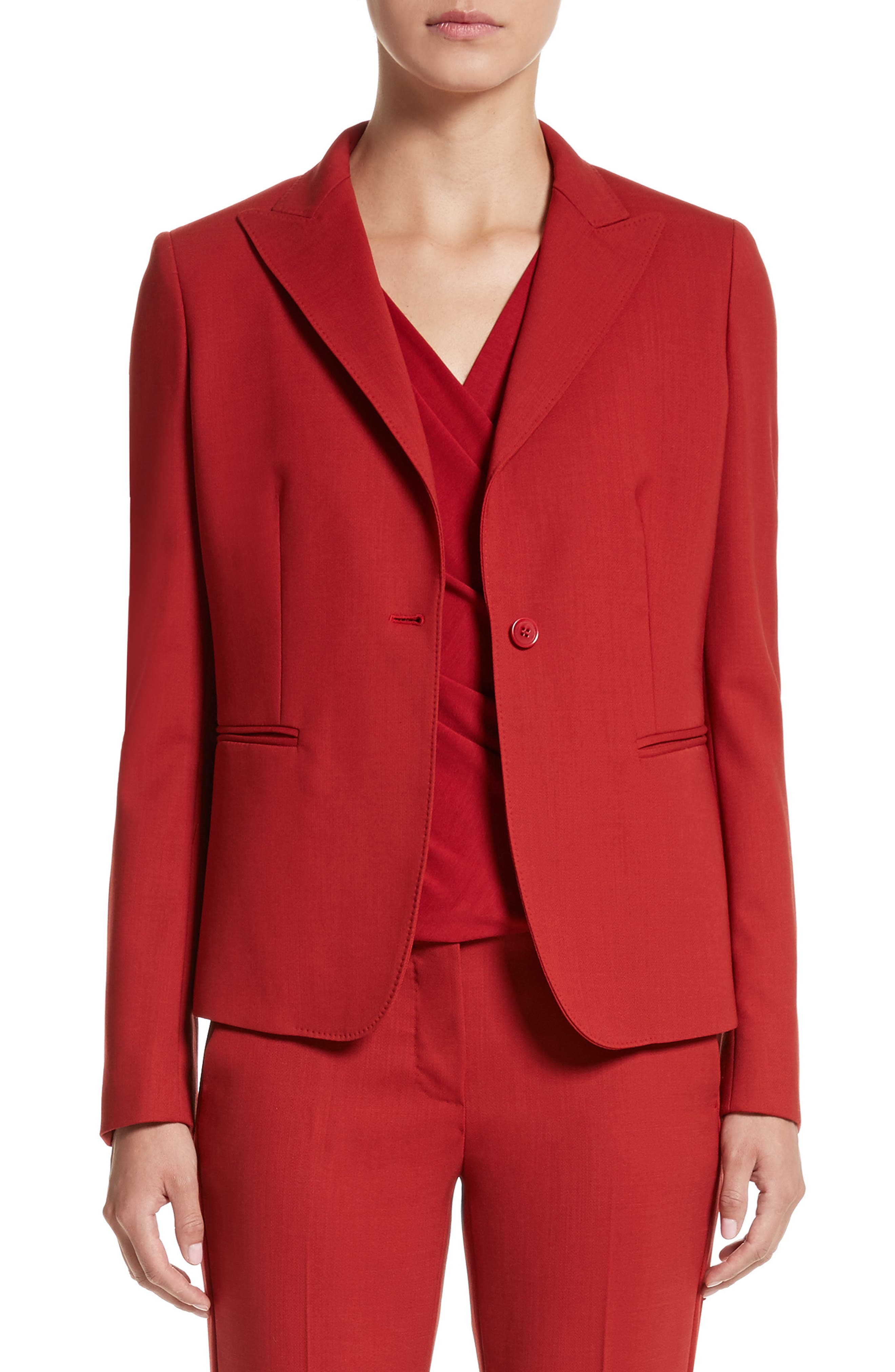 Umile Stretch Wool Jacket,                         Main,                         color, Red