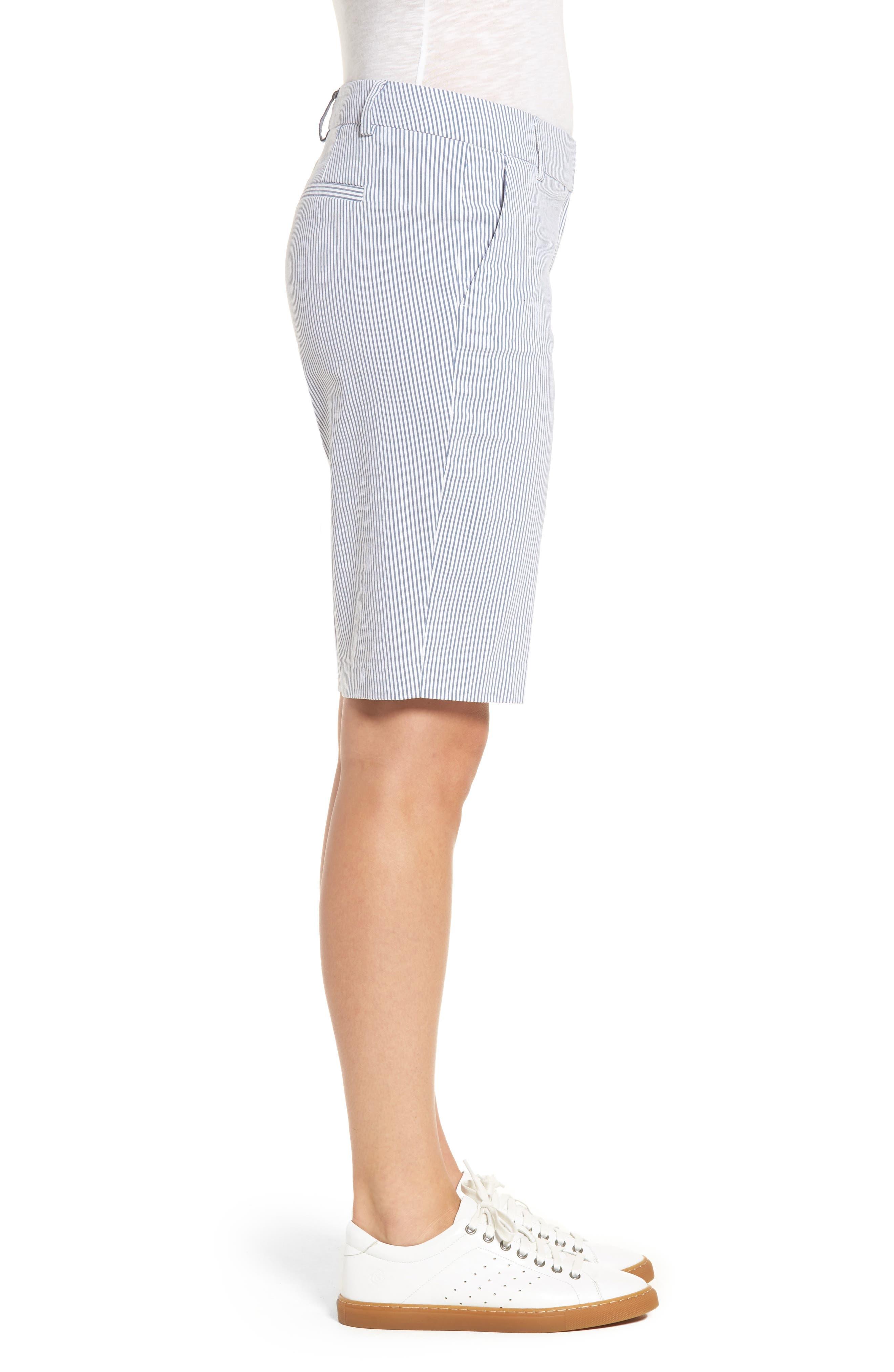 Stretch Bermuda Shorts,                             Alternate thumbnail 3, color,                             Blue- White Seersucker