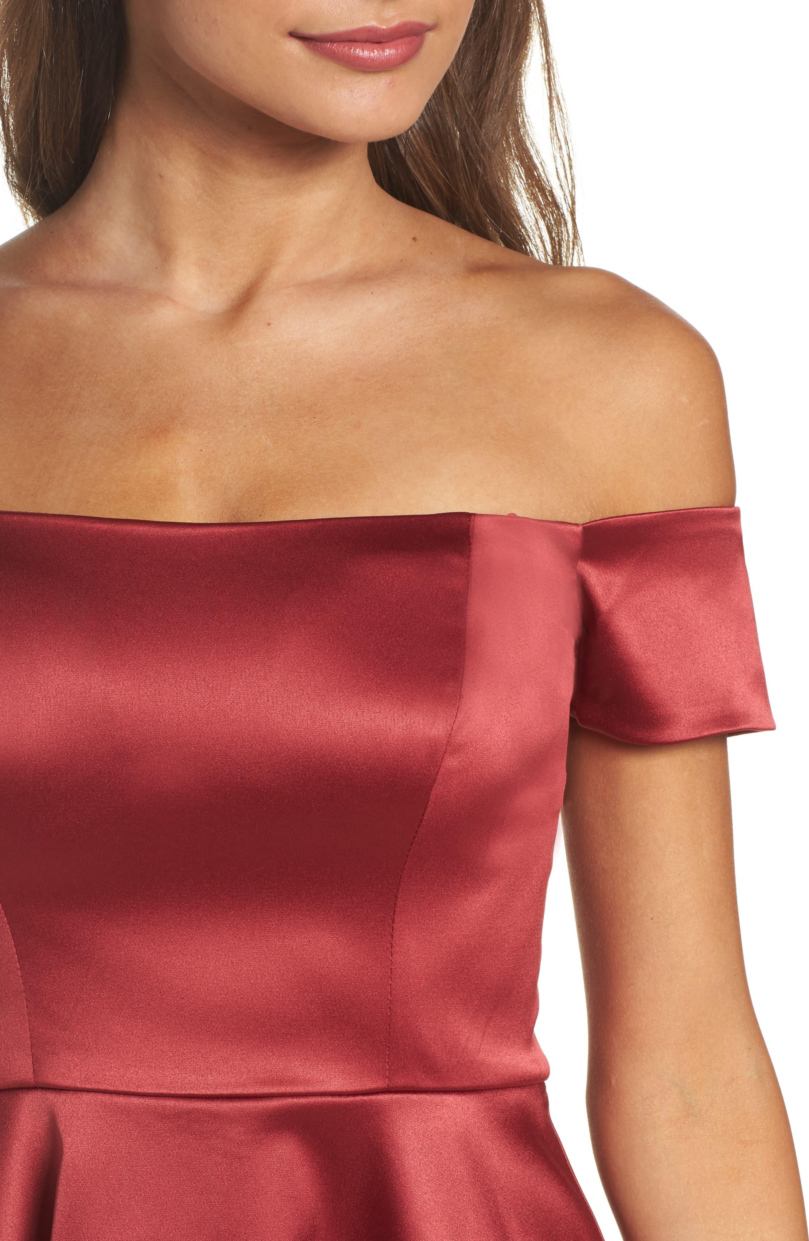Off the Shoulder Satin Dress,                             Alternate thumbnail 4, color,                             Merlot