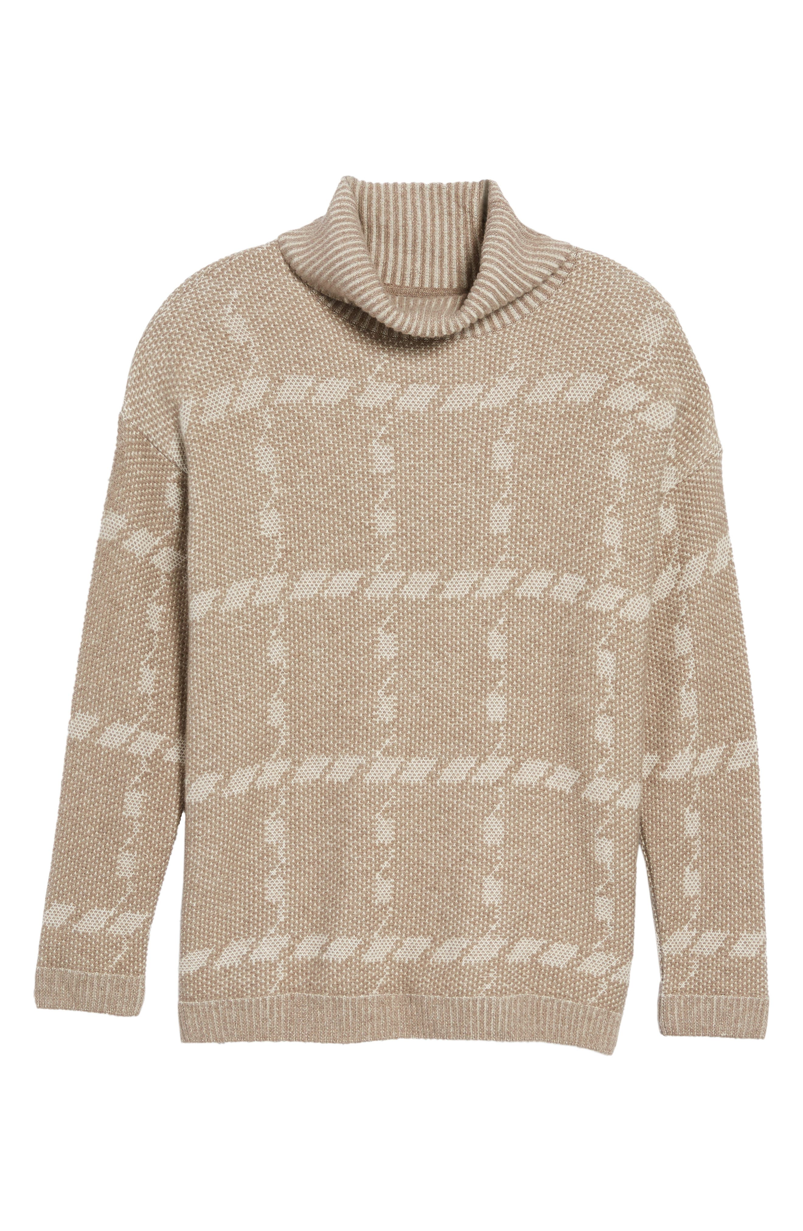 Glen Knit Merino Wool Blend Turtleneck Sweater,                             Alternate thumbnail 6, color,                             Taupe