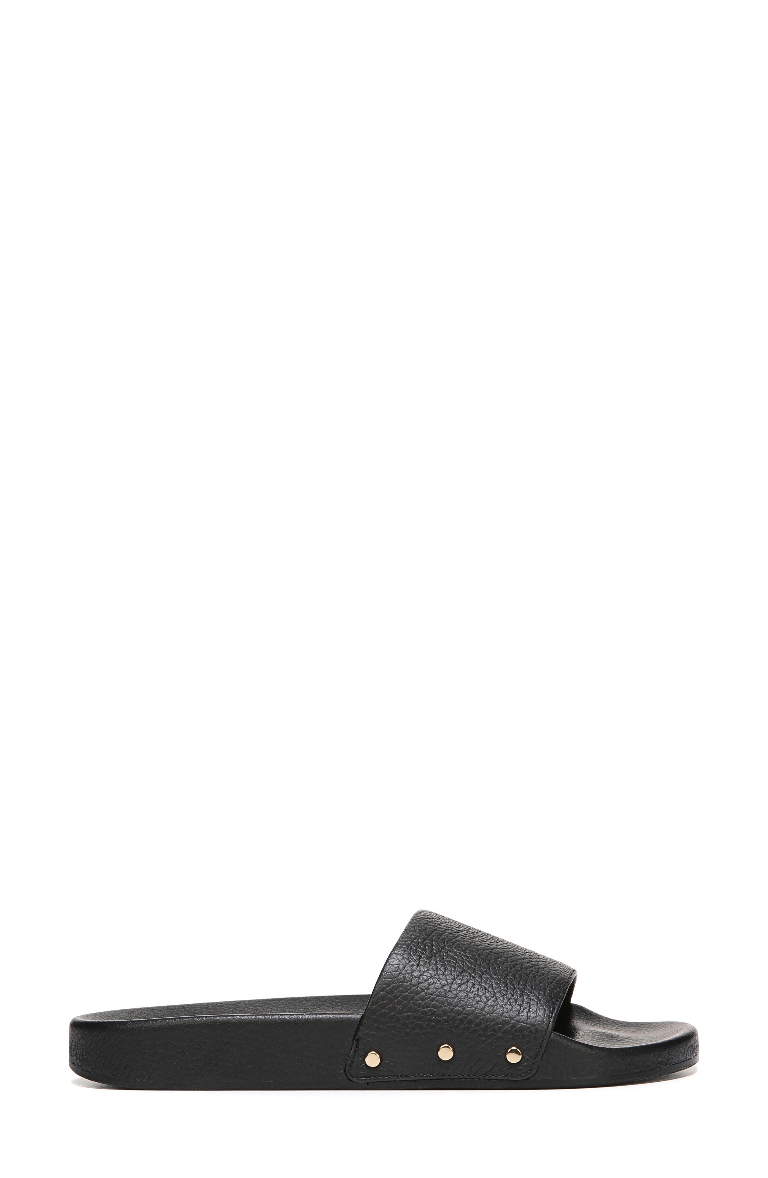 Pisces Slide Sandal,                             Alternate thumbnail 3, color,                             Black Leather