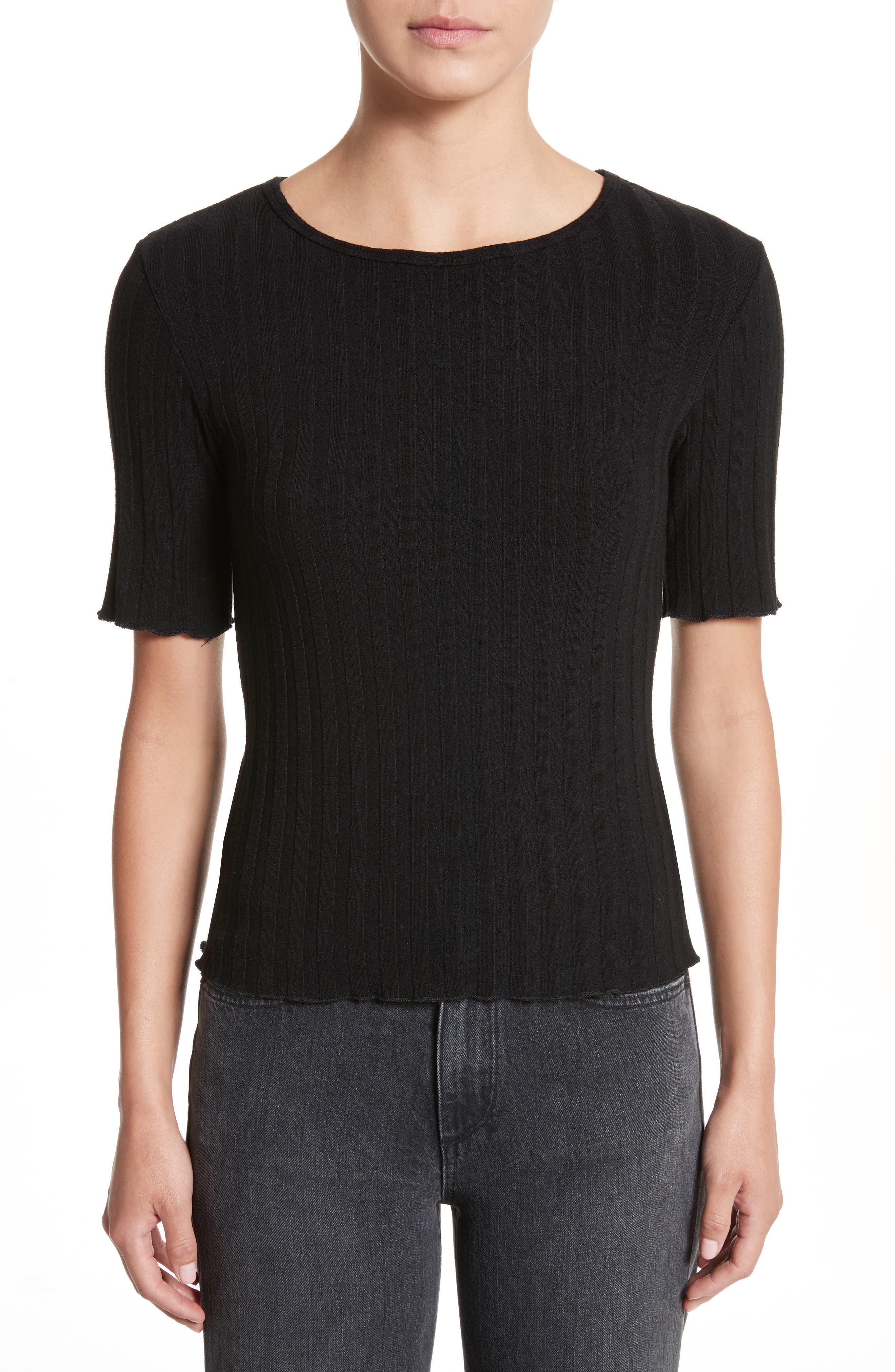 Preston Rib Knit Tee,                         Main,                         color, Black