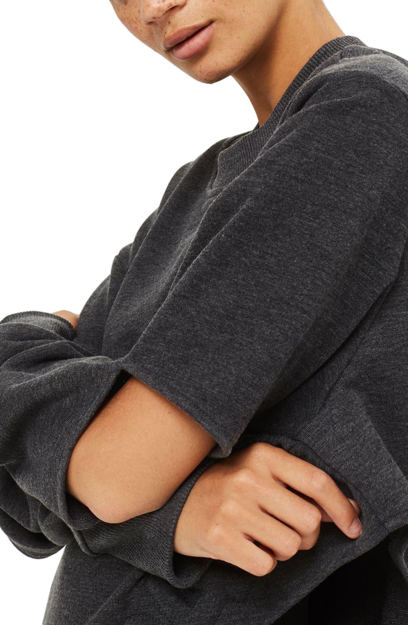 Logo Embossed Sliced Sweatshirt,                             Alternate thumbnail 4, color,                             Charcoal Marl
