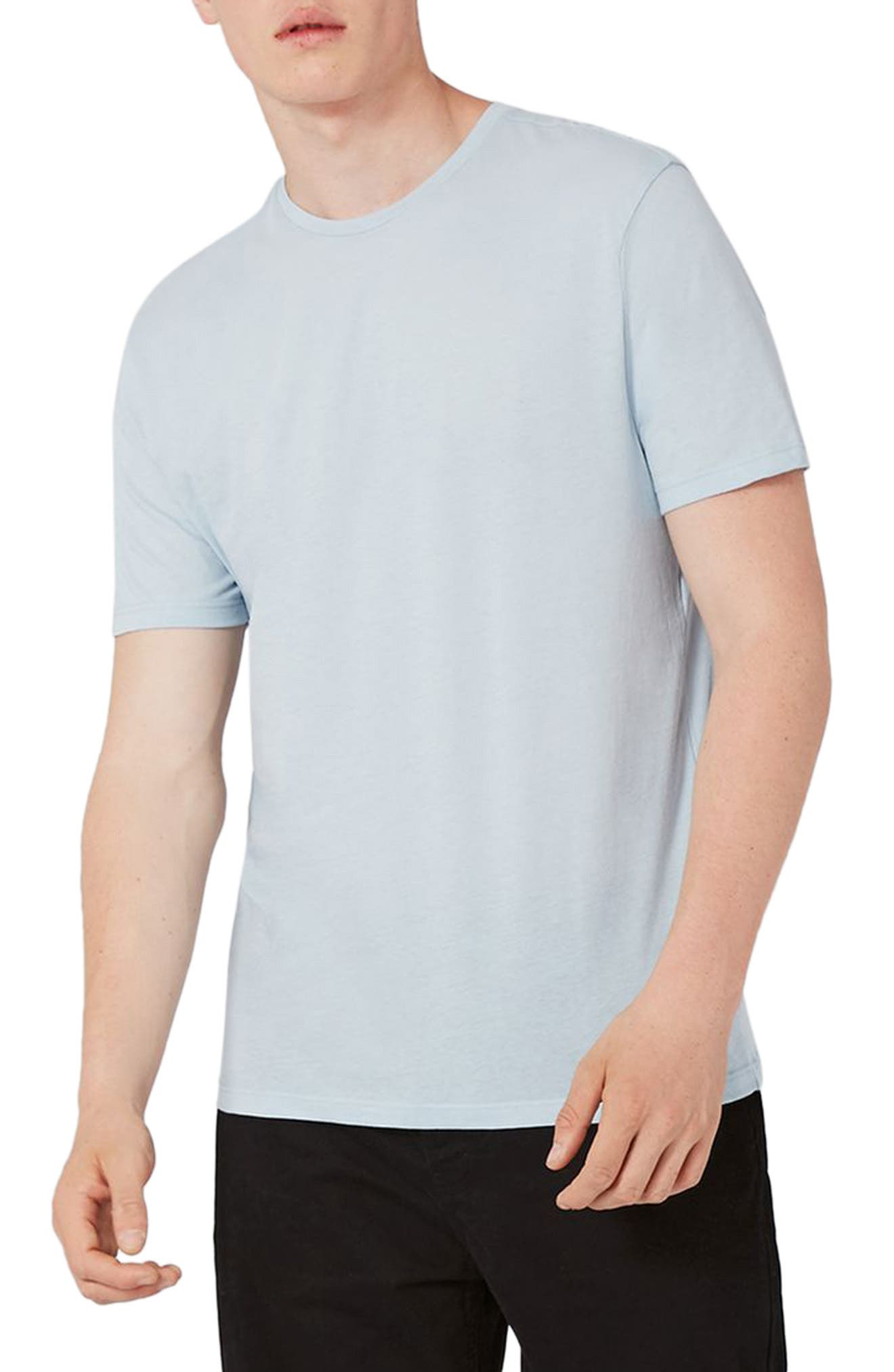 Lightweight Cotton T-Shirt,                         Main,                         color, Light Blue