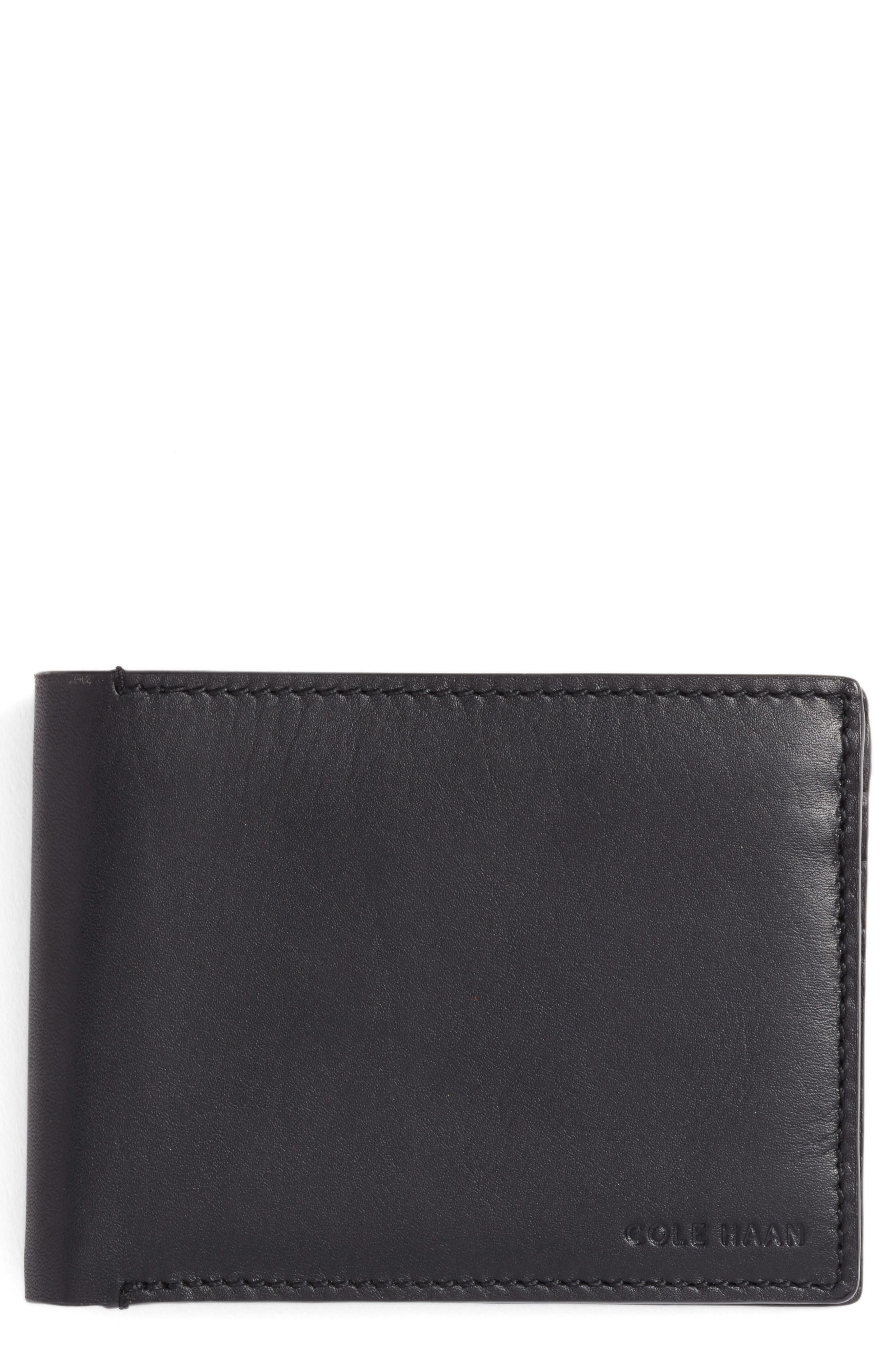 Bifold Leather Wallet with Pass Case,                             Main thumbnail 1, color,                             Black