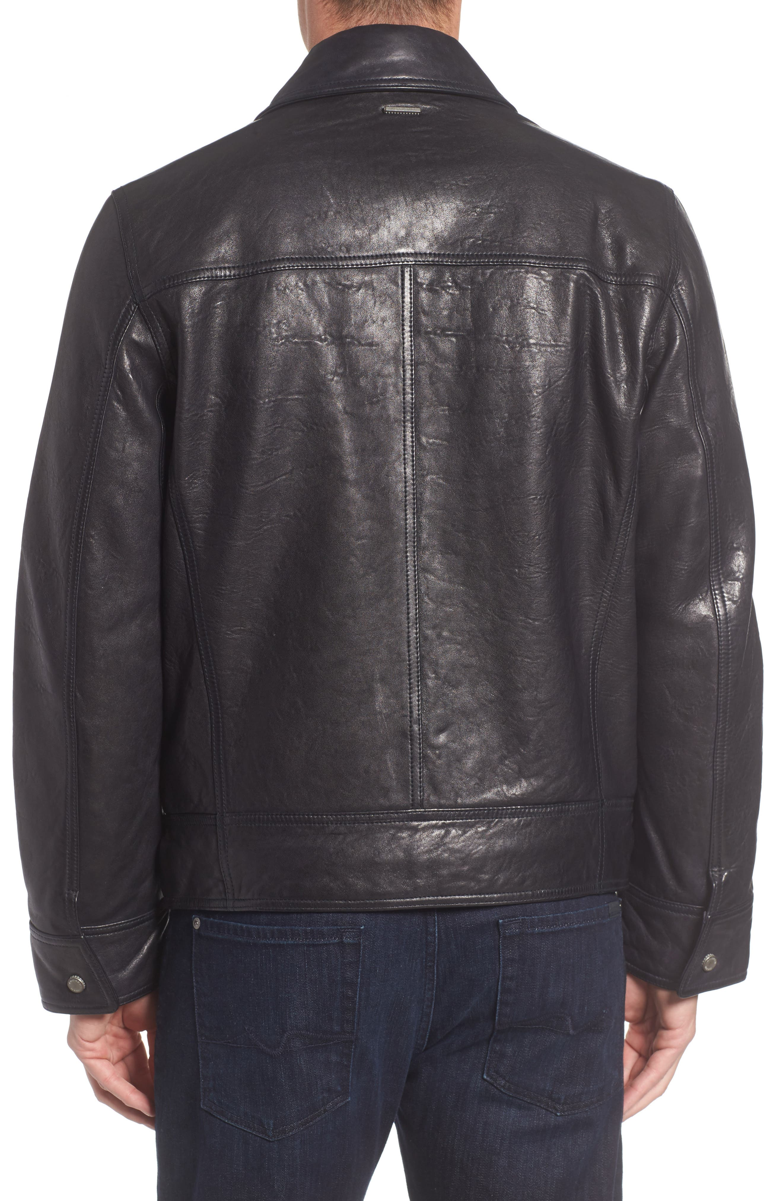 Morrison Spread Collar Leather Jacket,                             Alternate thumbnail 2, color,                             Ink