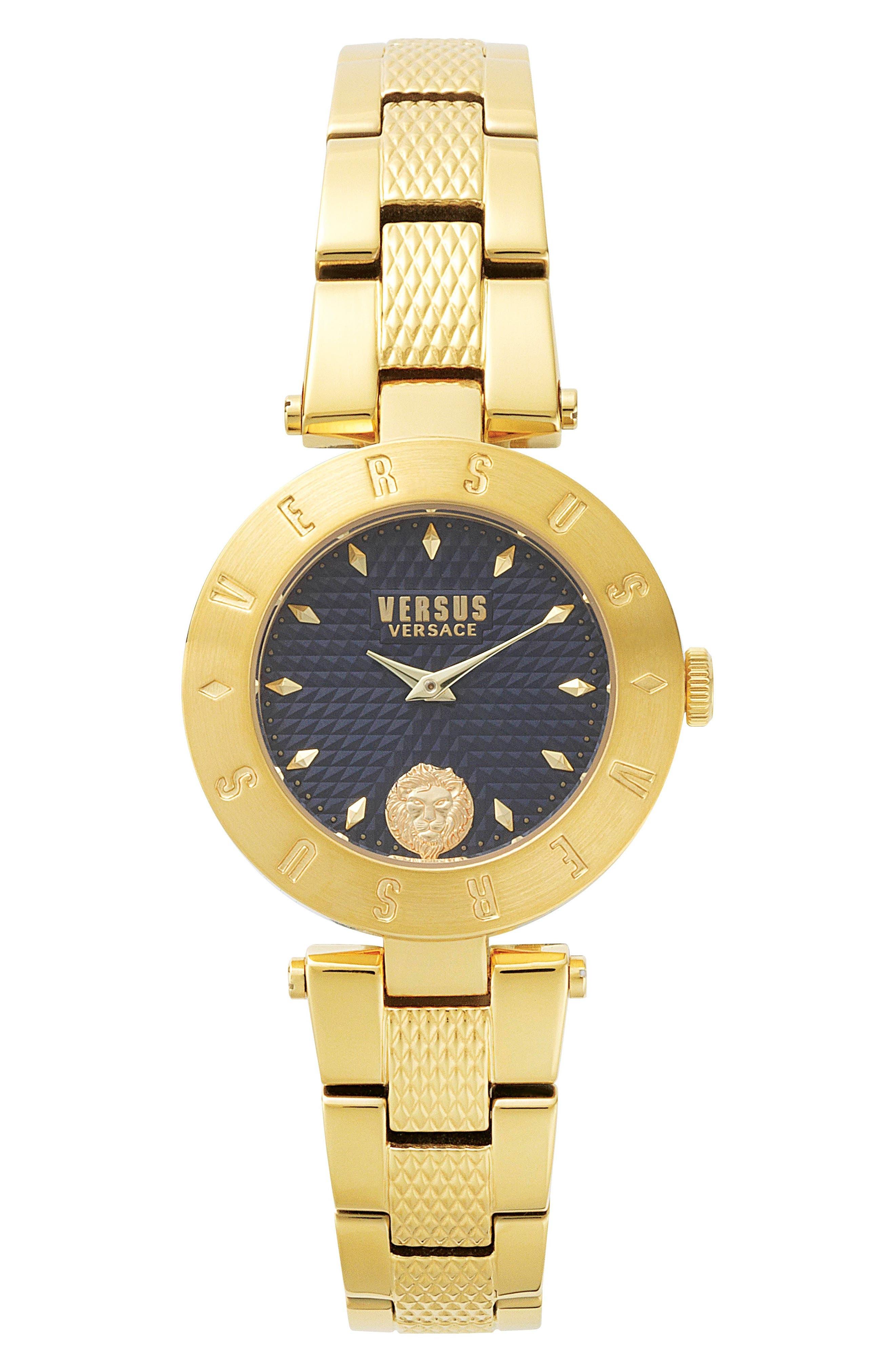 Versus by Versace New Logo Bracelet Watch, 34mm,                             Main thumbnail 1, color,                             Gold/ Blue/ Gold
